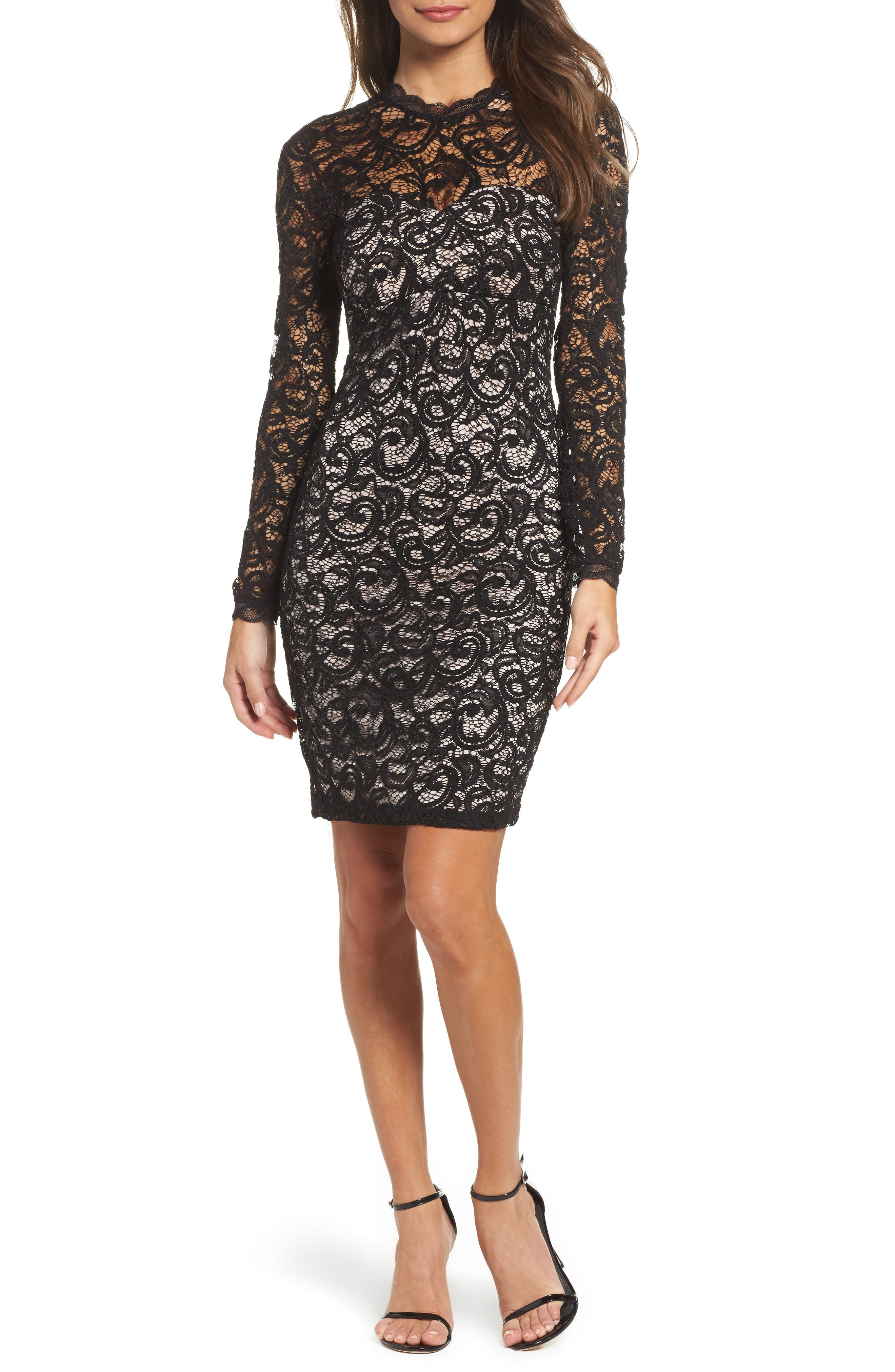 Sequin Hearts Embellished Lace Body-Con Dress
