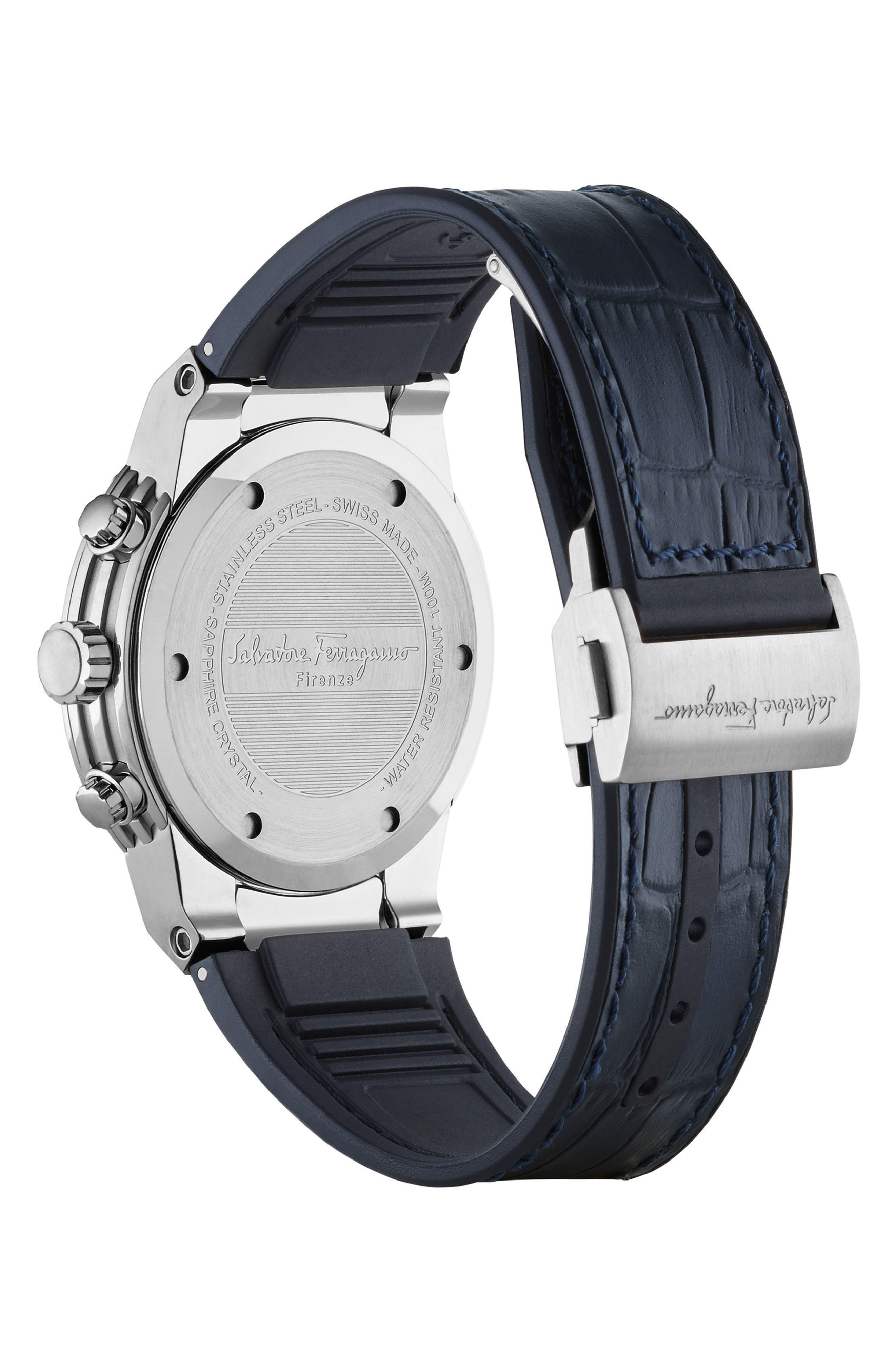 Alternate Image 2  - Salvatore Ferragamo F80 Chronograph Leather Strap Watch, 44mm