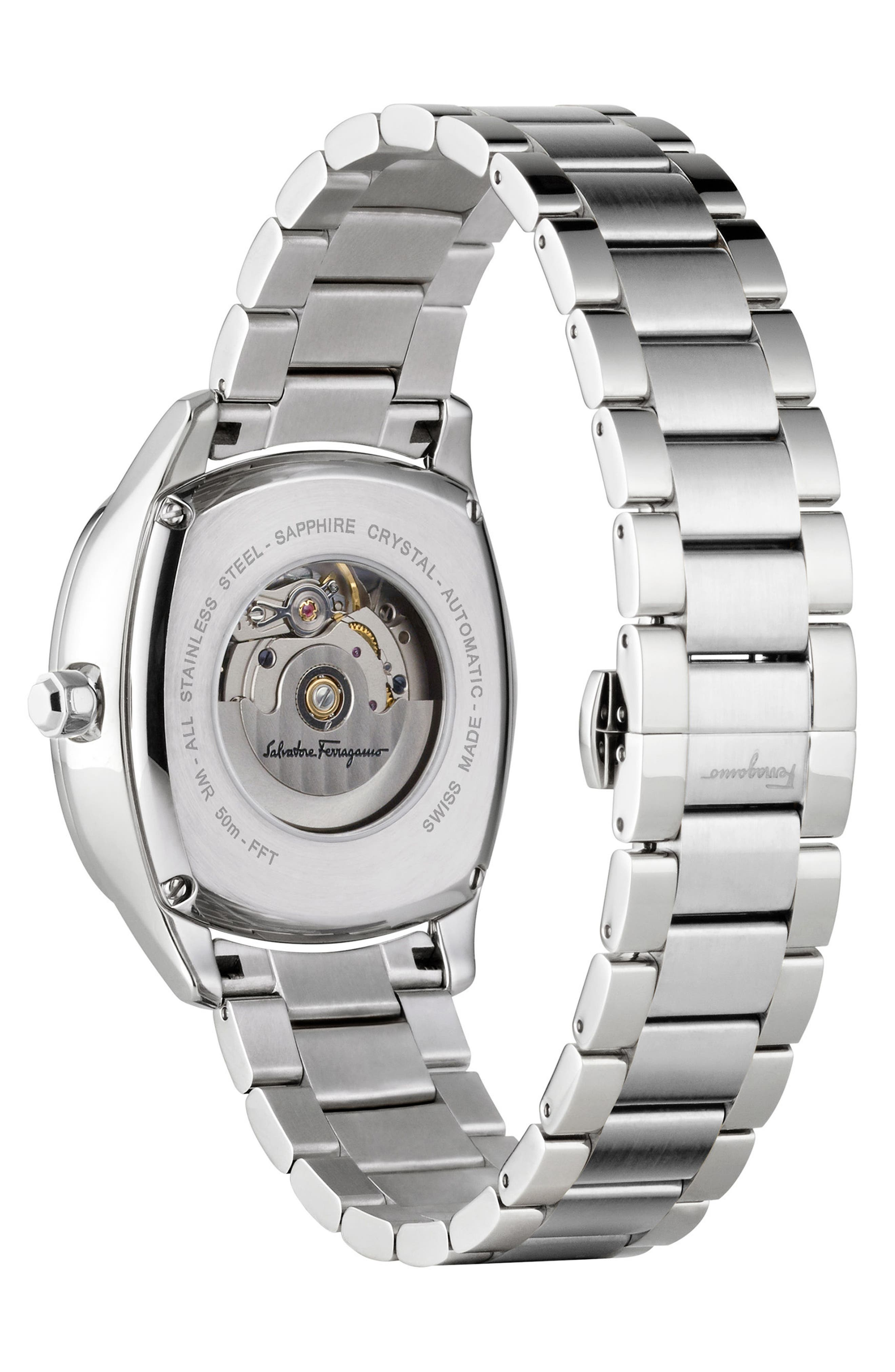 Square Automatic Bracelet Watch, 41mm,                             Alternate thumbnail 2, color,                             Silver