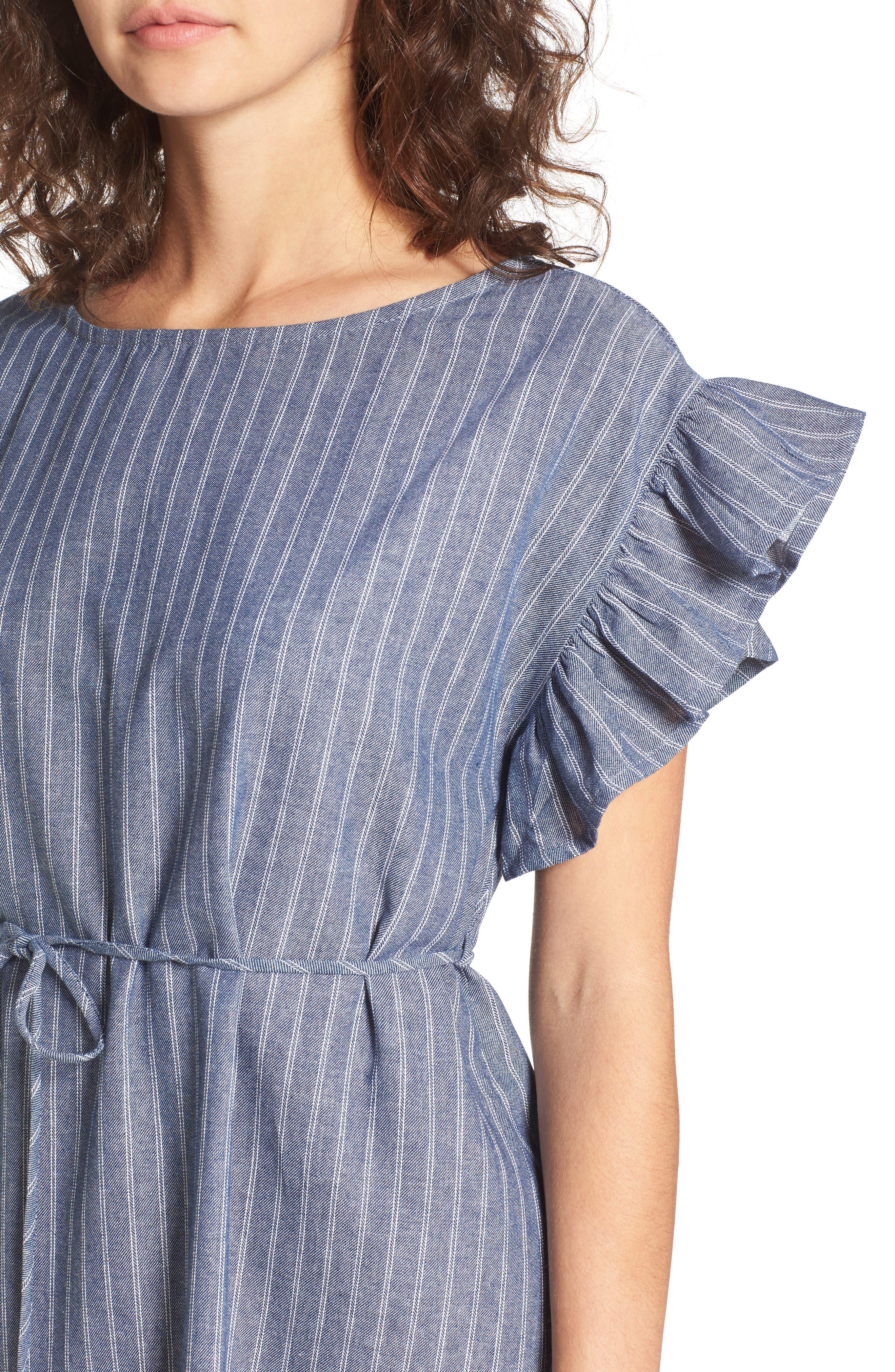 Alternate Image 4  - BP. Ruffle Trim Stripe Cotton Shift Dress