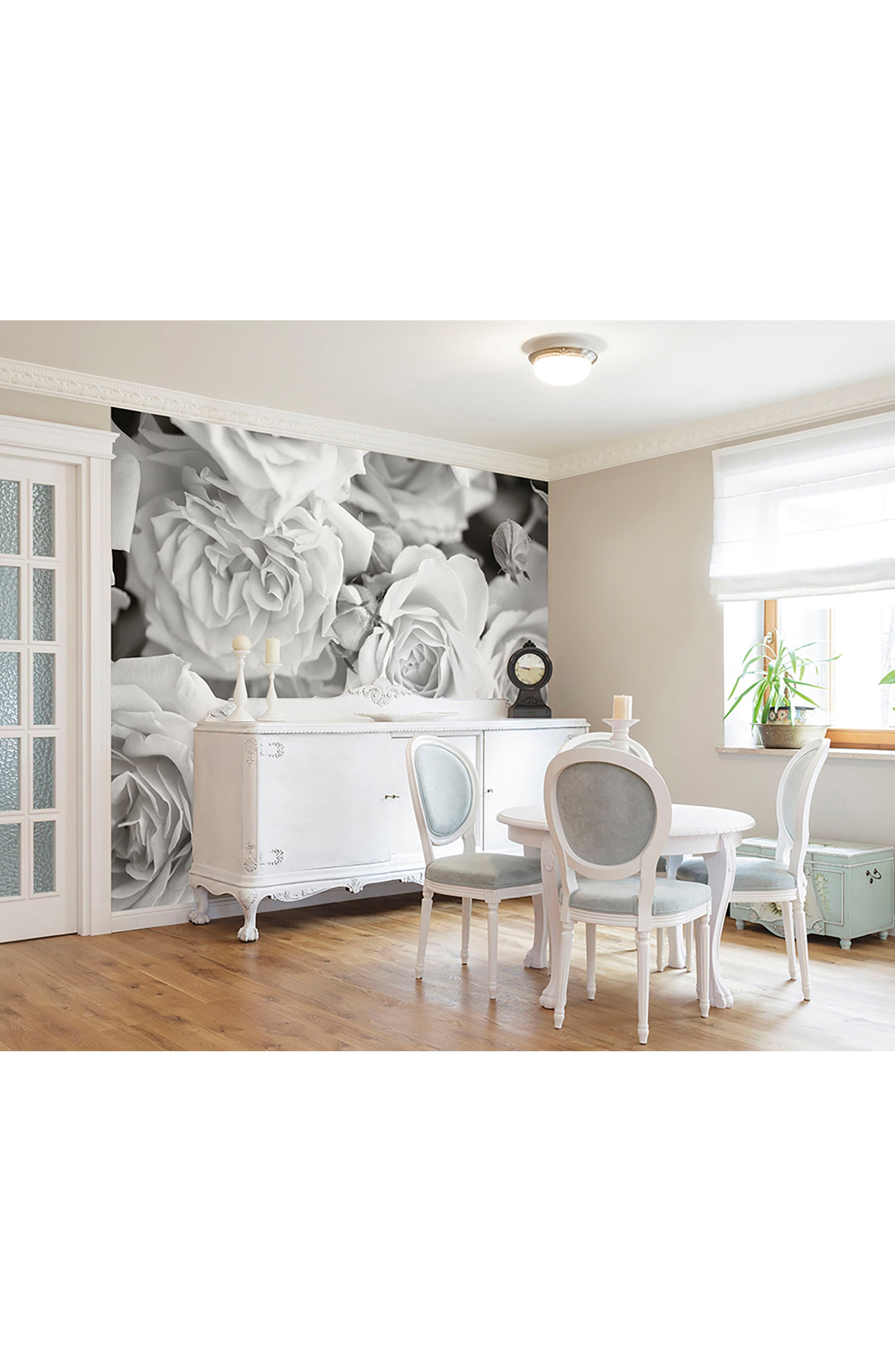 Grey Petals 6-Panel Wall Mural,                             Alternate thumbnail 2, color,                             White Off-White