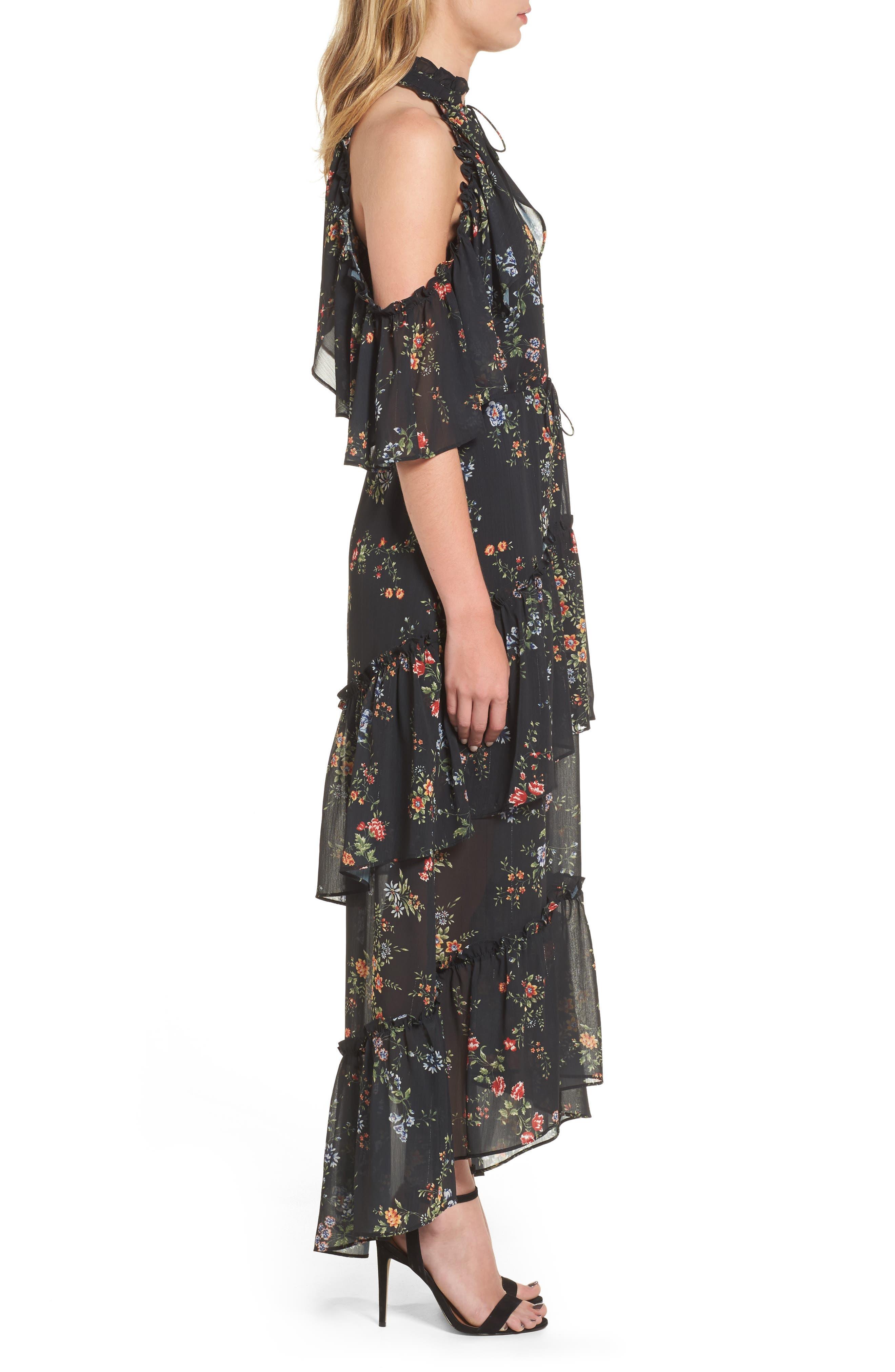 London Cold Shoulder Maxi Dress,                             Alternate thumbnail 3, color,                             Black Floral