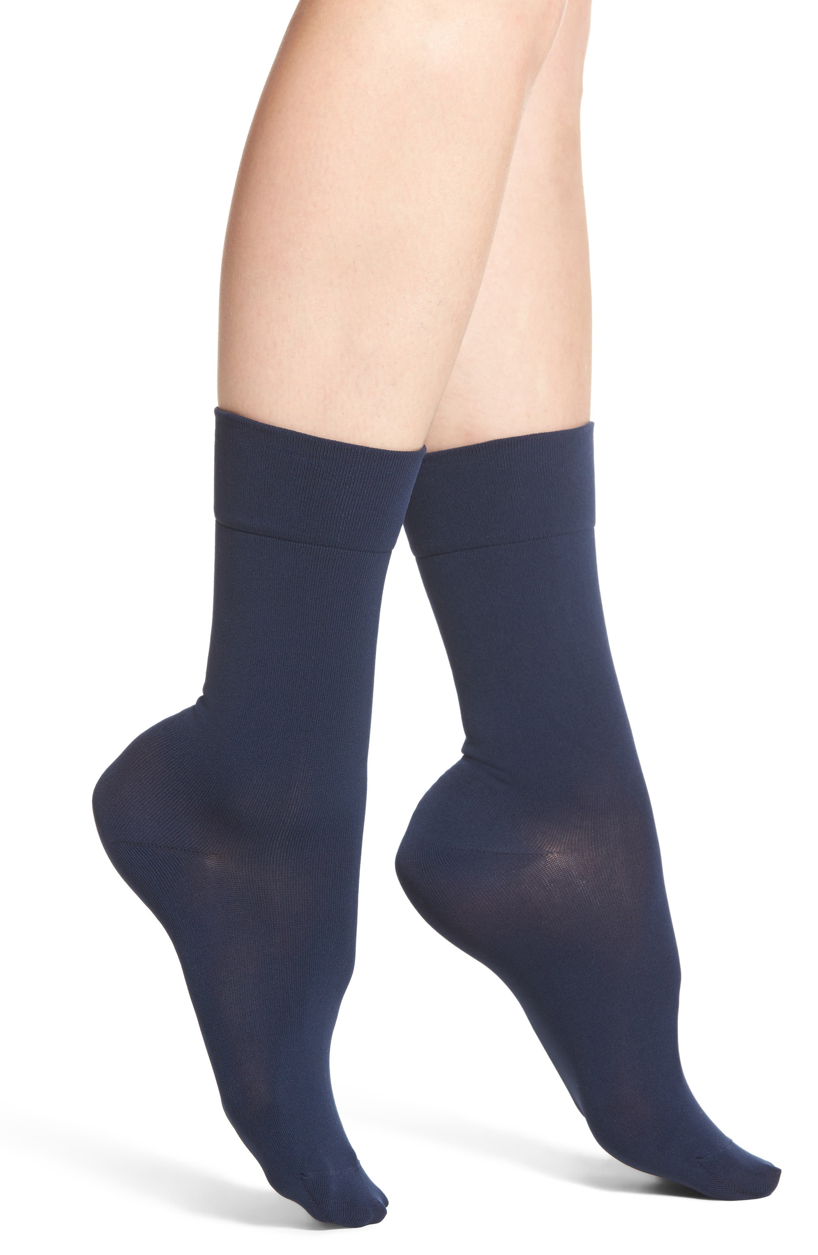 Ultra Sleek Crew Socks,                         Main,                         color, Navy