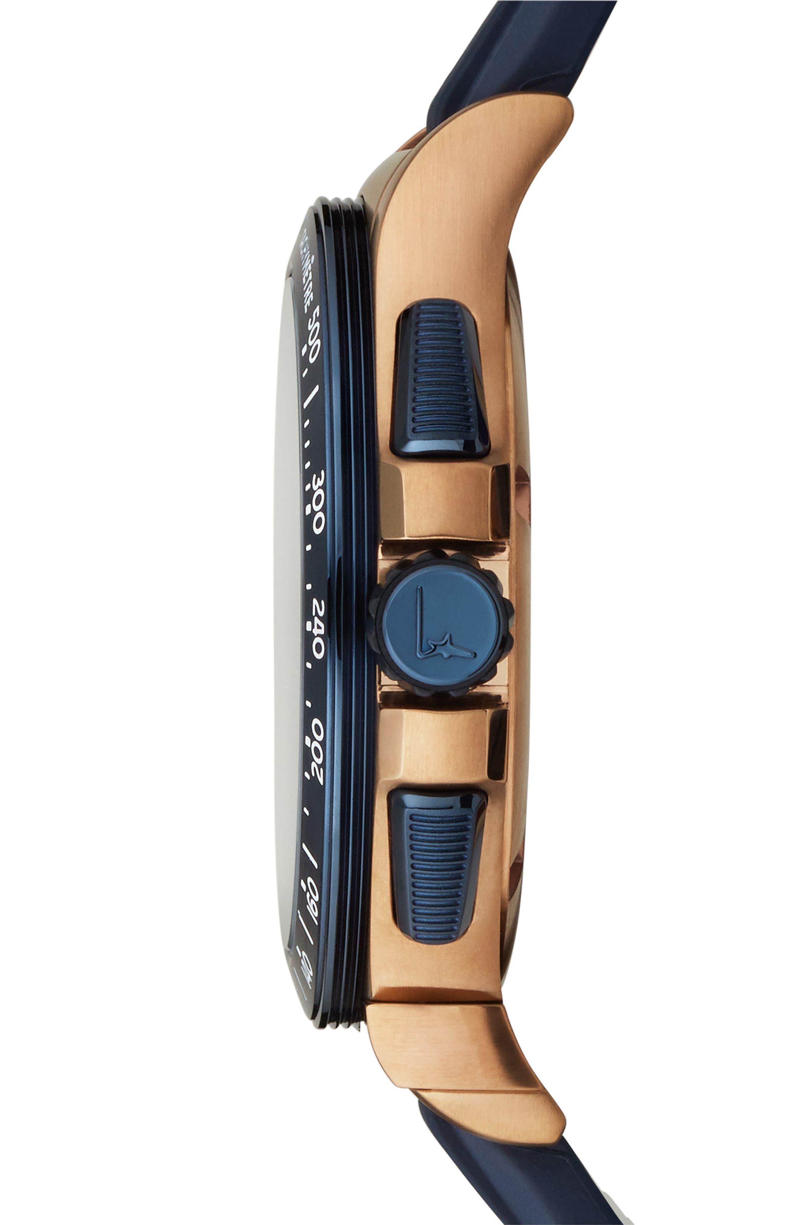 Alternate Image 3  - Salvatore Ferragamo 1898 Sport Chronograph Silicone Strap Watch, 44mm