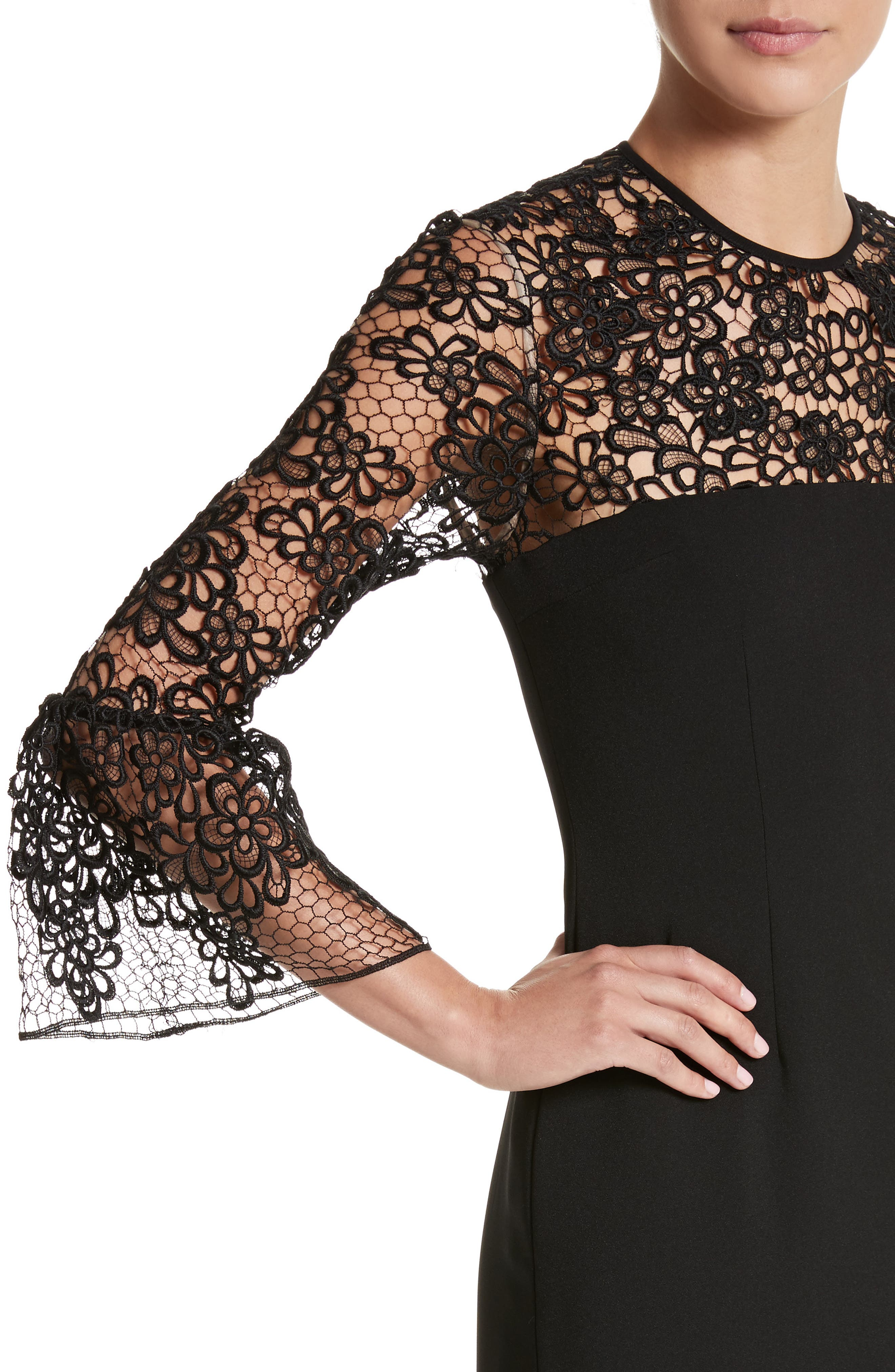 Alternate Image 4  - Carmen Marc Valvo Couture Embroidered Lace Bell Sleeve Sheath Dress