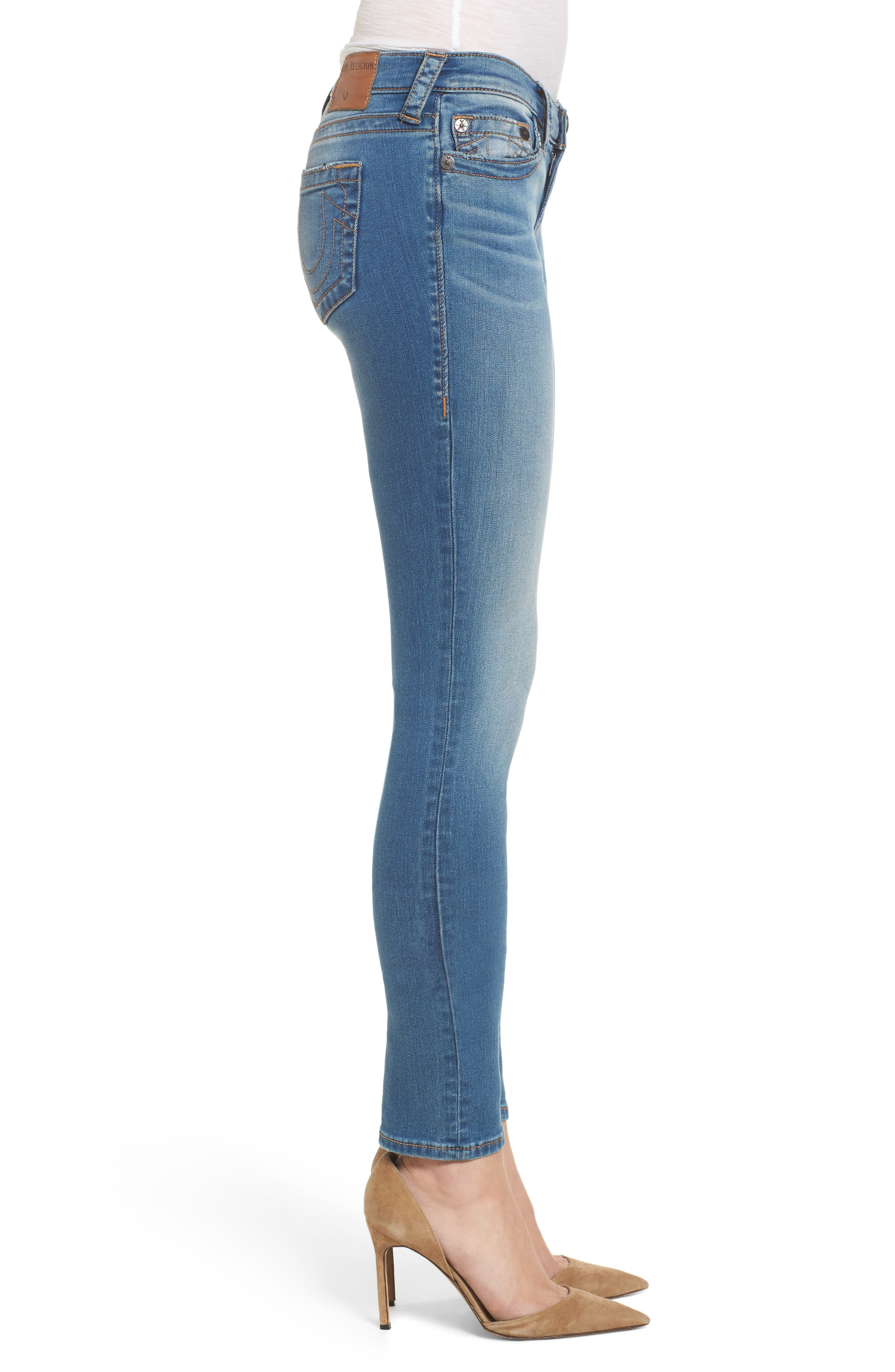Stella Low Rise Skinny Jeans,                             Alternate thumbnail 3, color,                             Nu Authentic Indigo