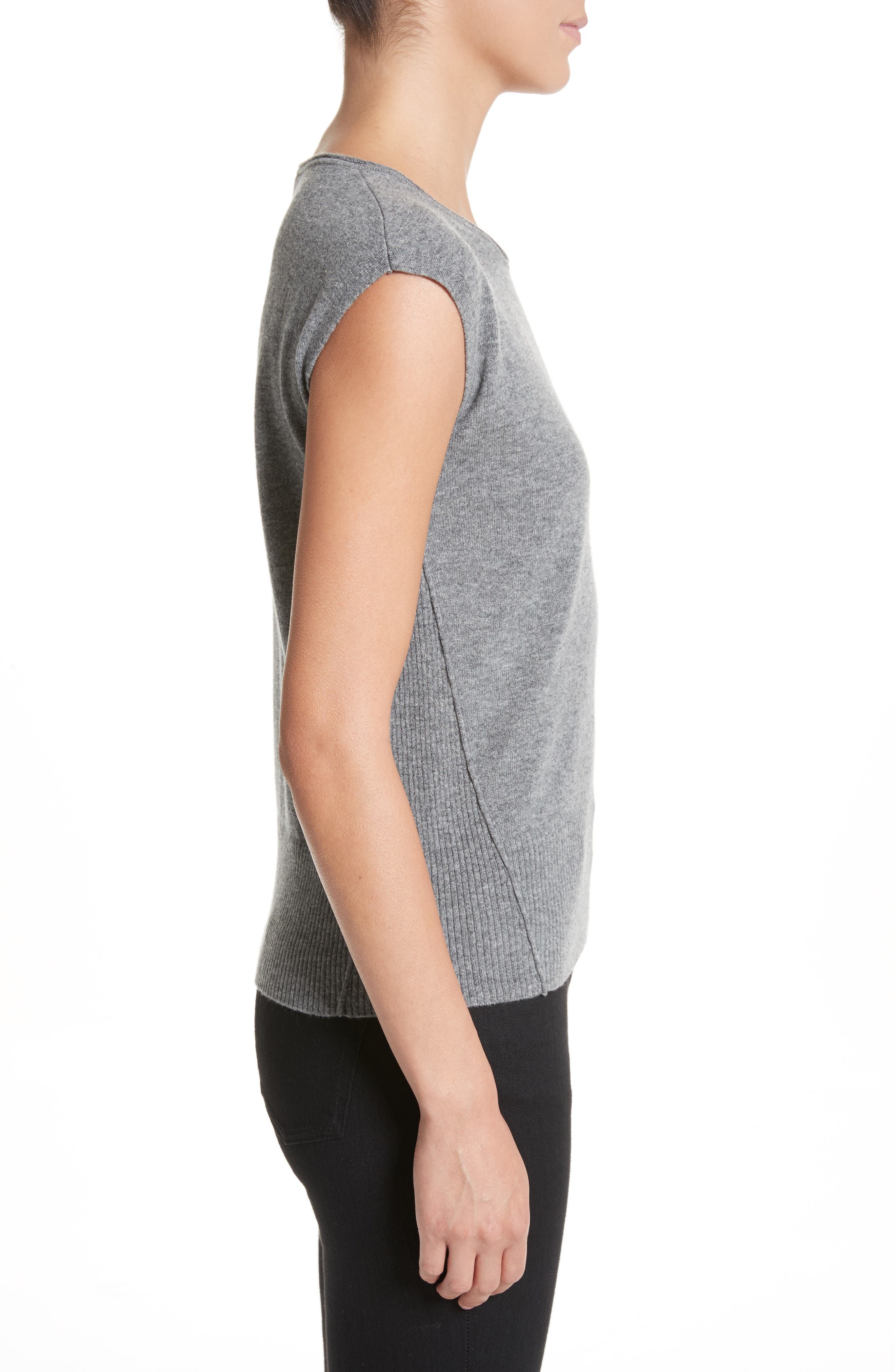 Wool & Cashmere Knit Top,                             Alternate thumbnail 3, color,                             Stone