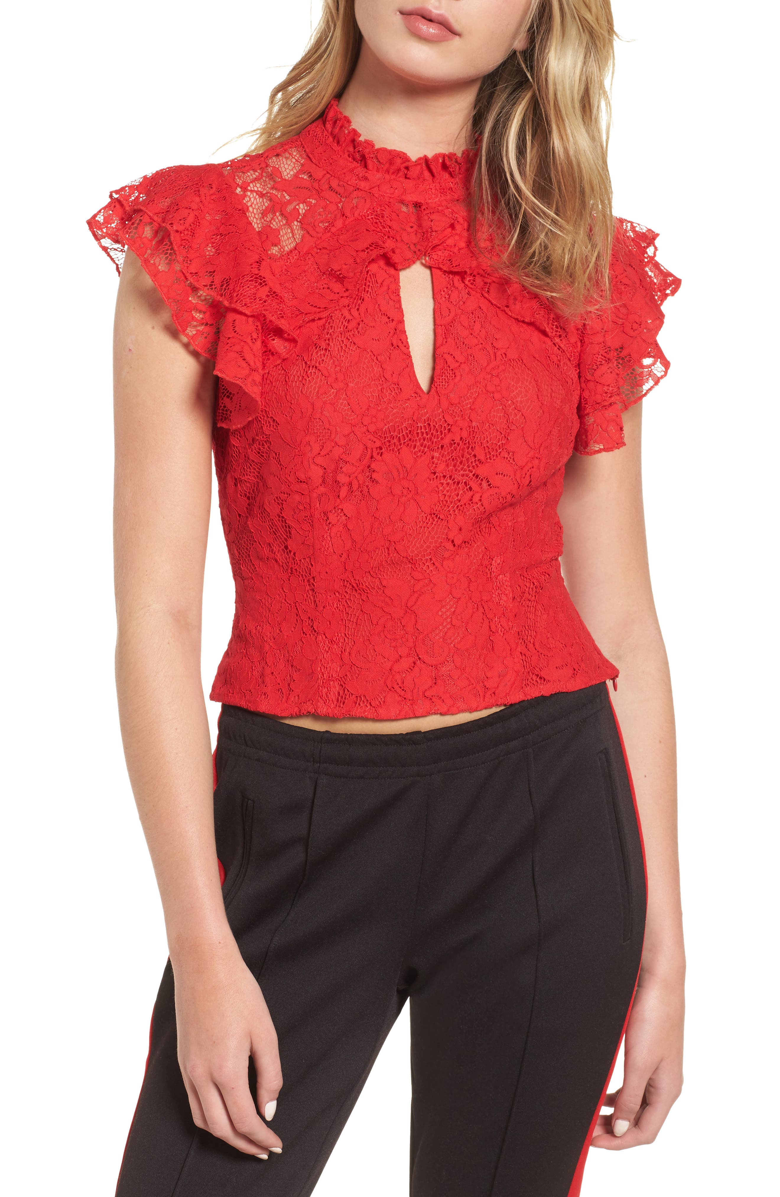 Alternate Image 1 Selected - AFRM Blaire Ruffle Lace Top