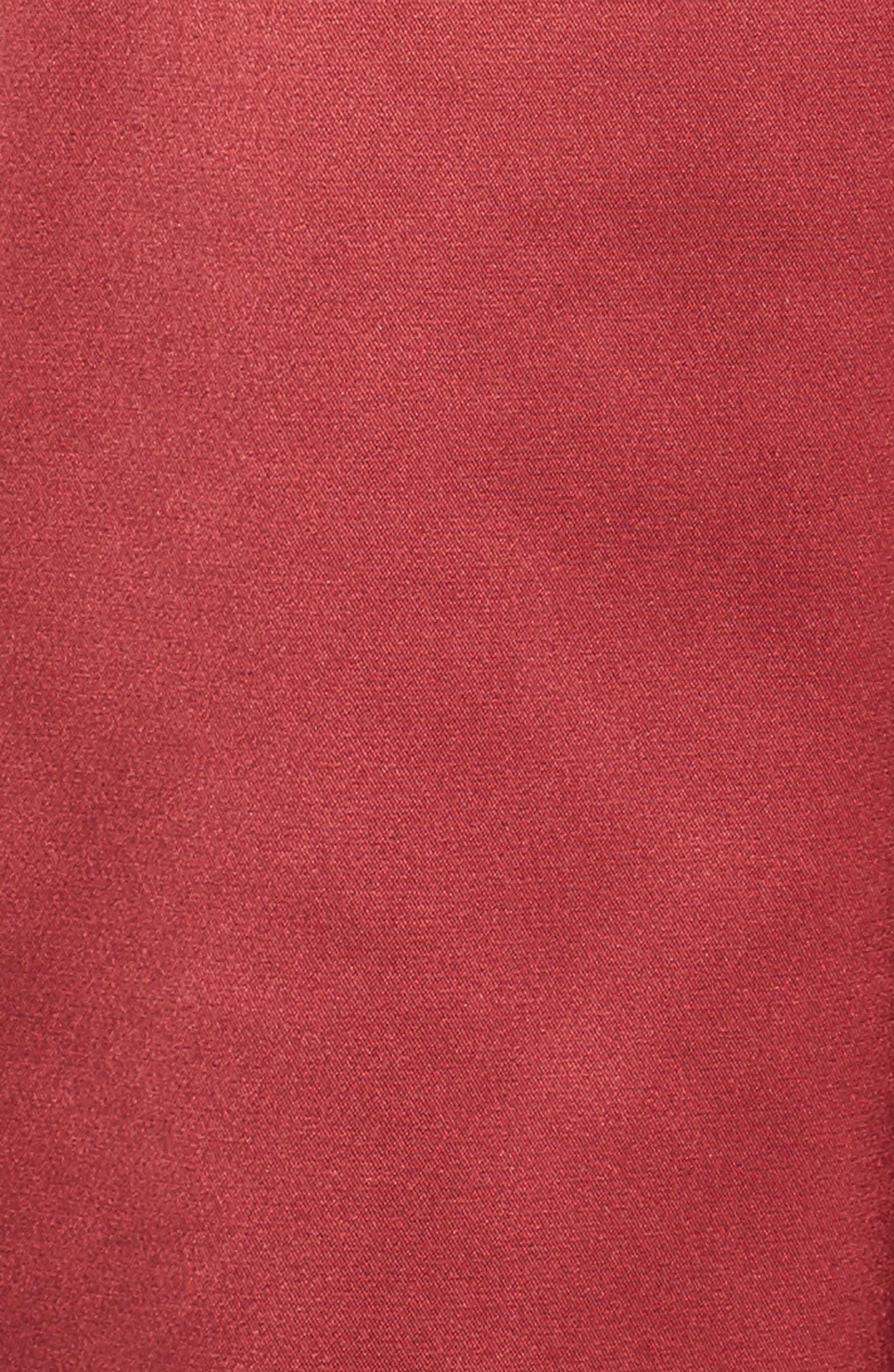 Off the Shoulder Satin Dress,                             Alternate thumbnail 5, color,                             Merlot