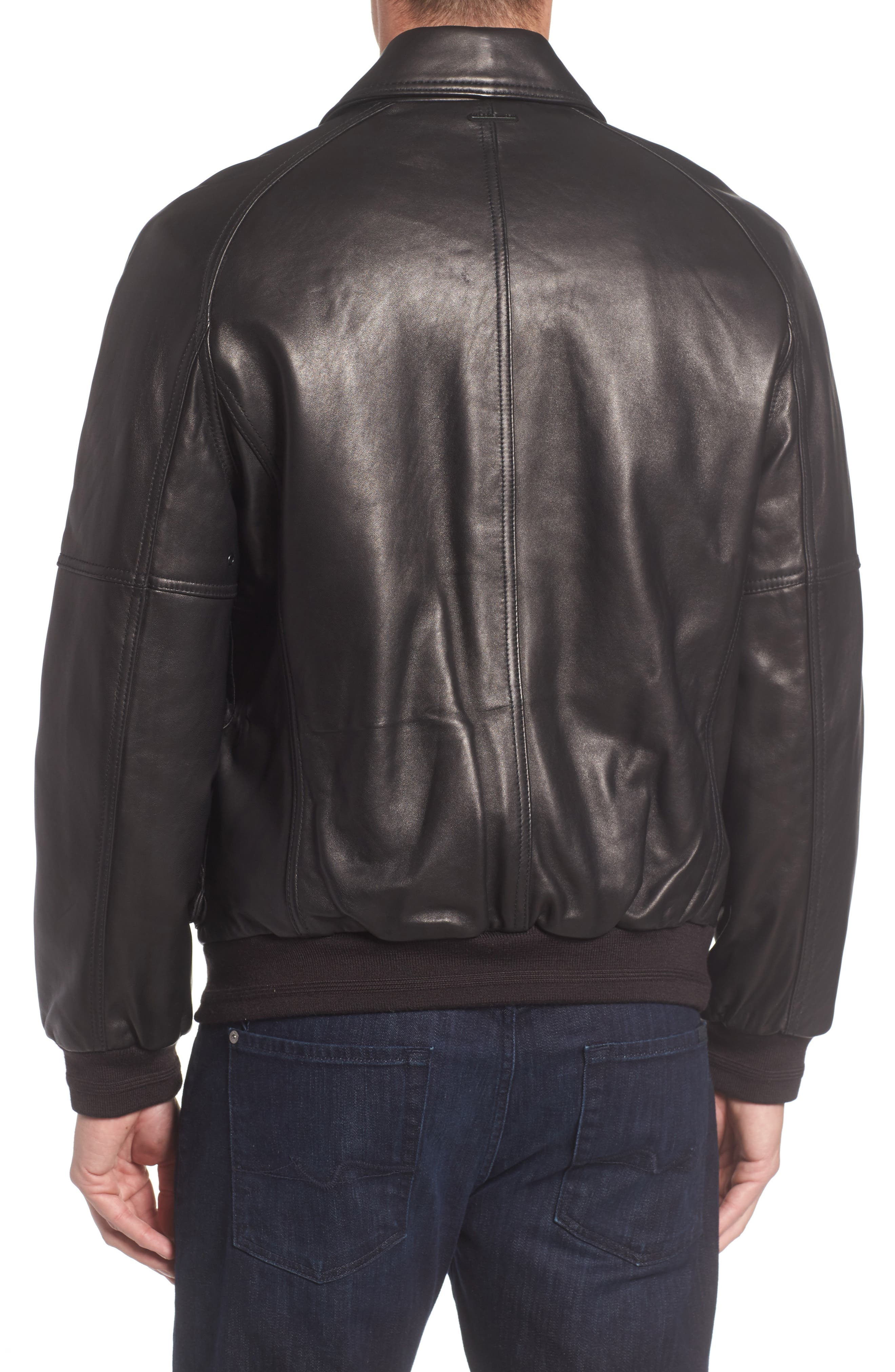 Andrew Marc Lambskin Leather Aviator Jacket,                             Alternate thumbnail 2, color,                             Black