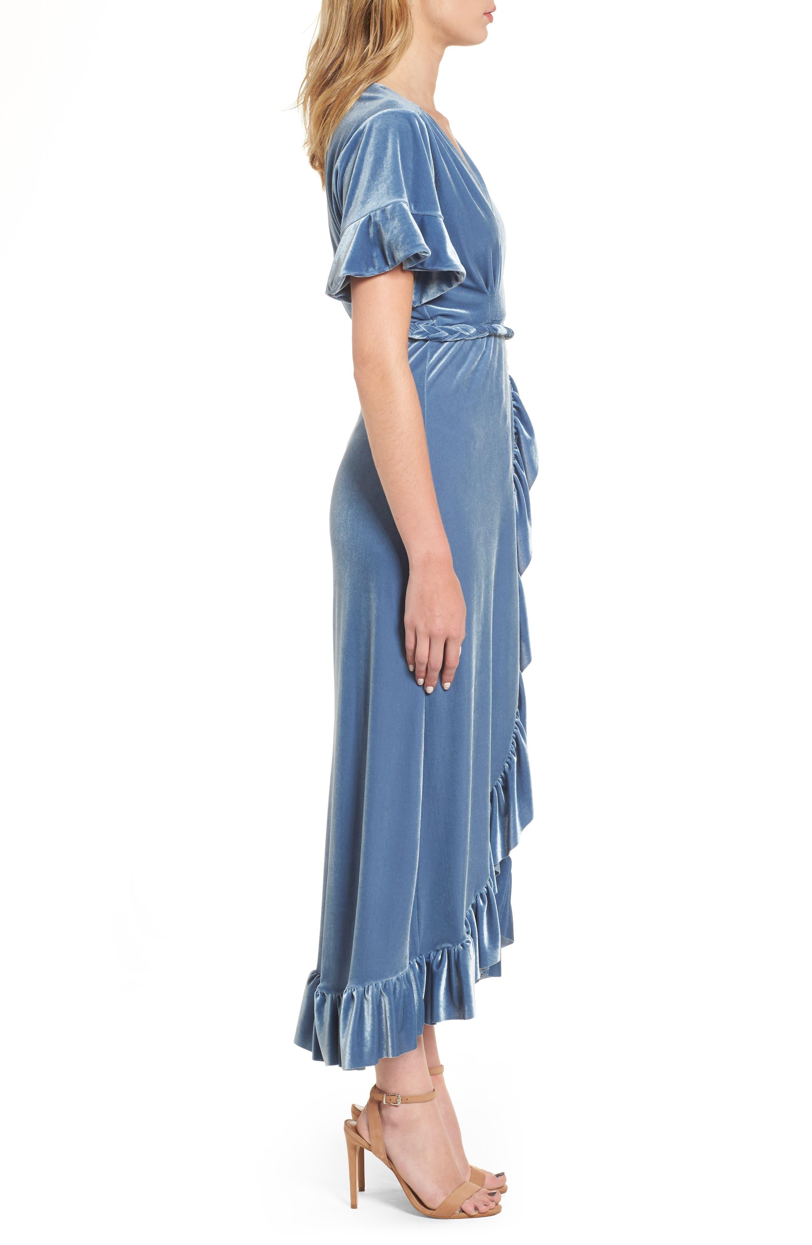 Selina Velvet Wrap Dress,                             Alternate thumbnail 3, color,                             Blue Velvet