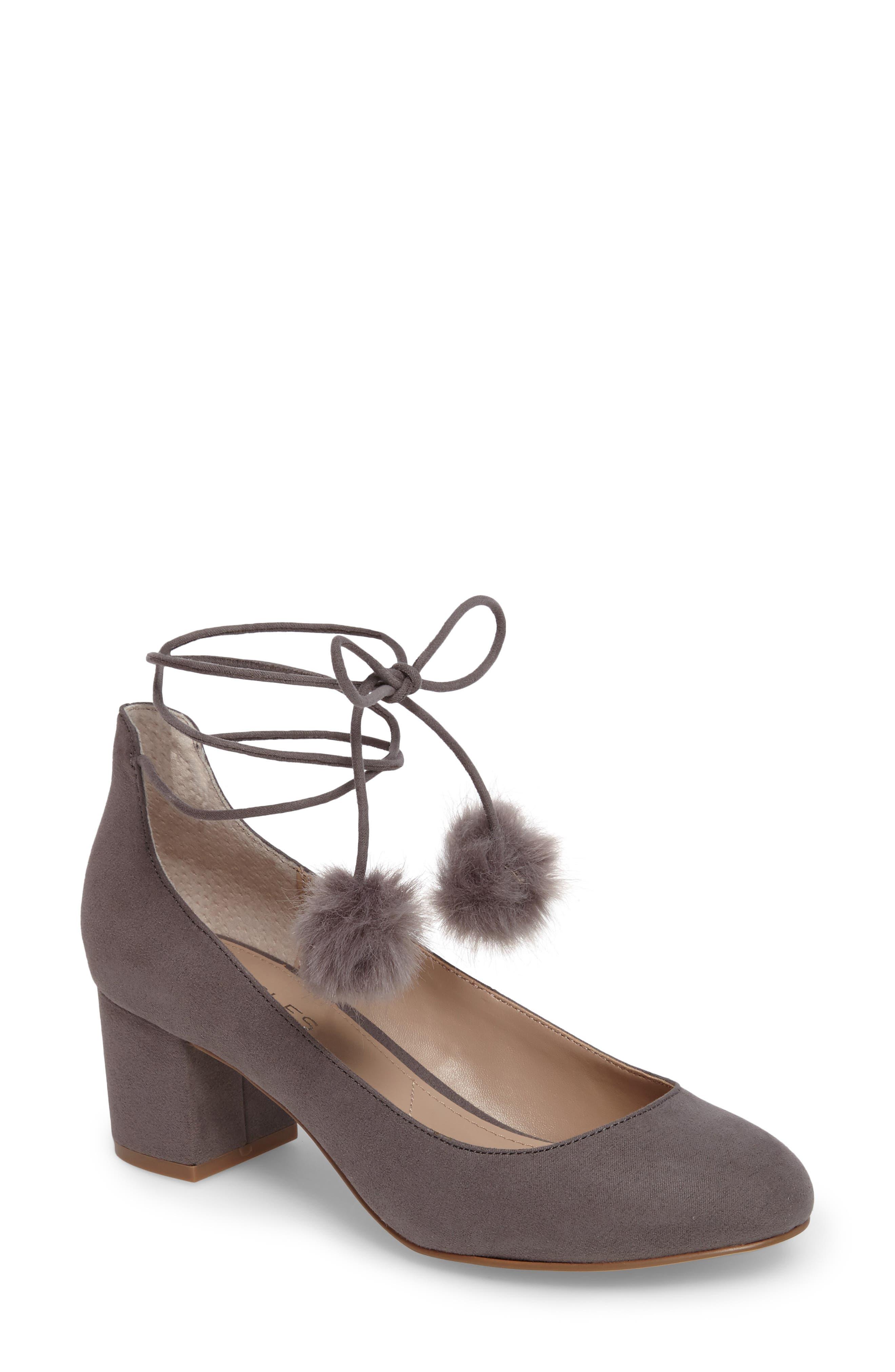 Libby Faux Fur Pompom Pump,                         Main,                         color, Slate Suede