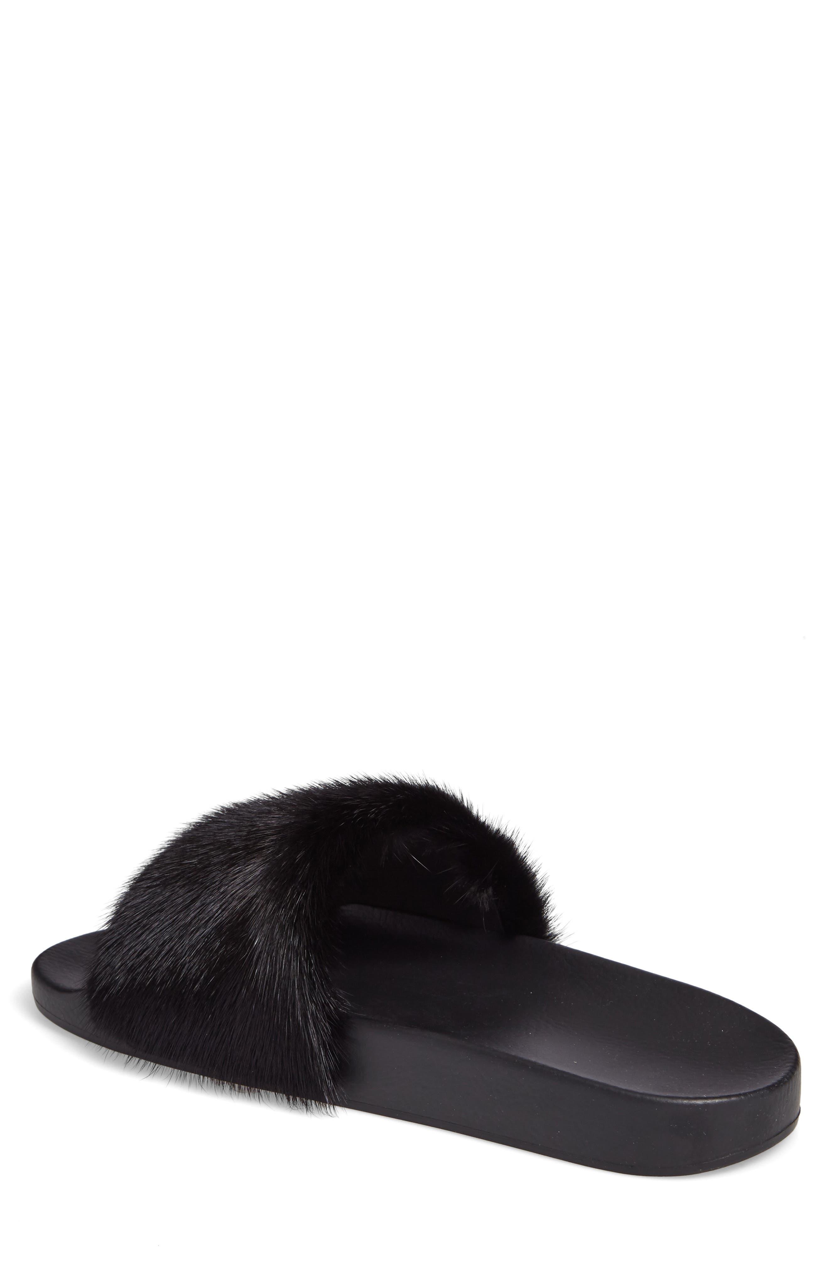 Genuine Mink Fur Slide Sandal,                             Alternate thumbnail 2, color,                             Black