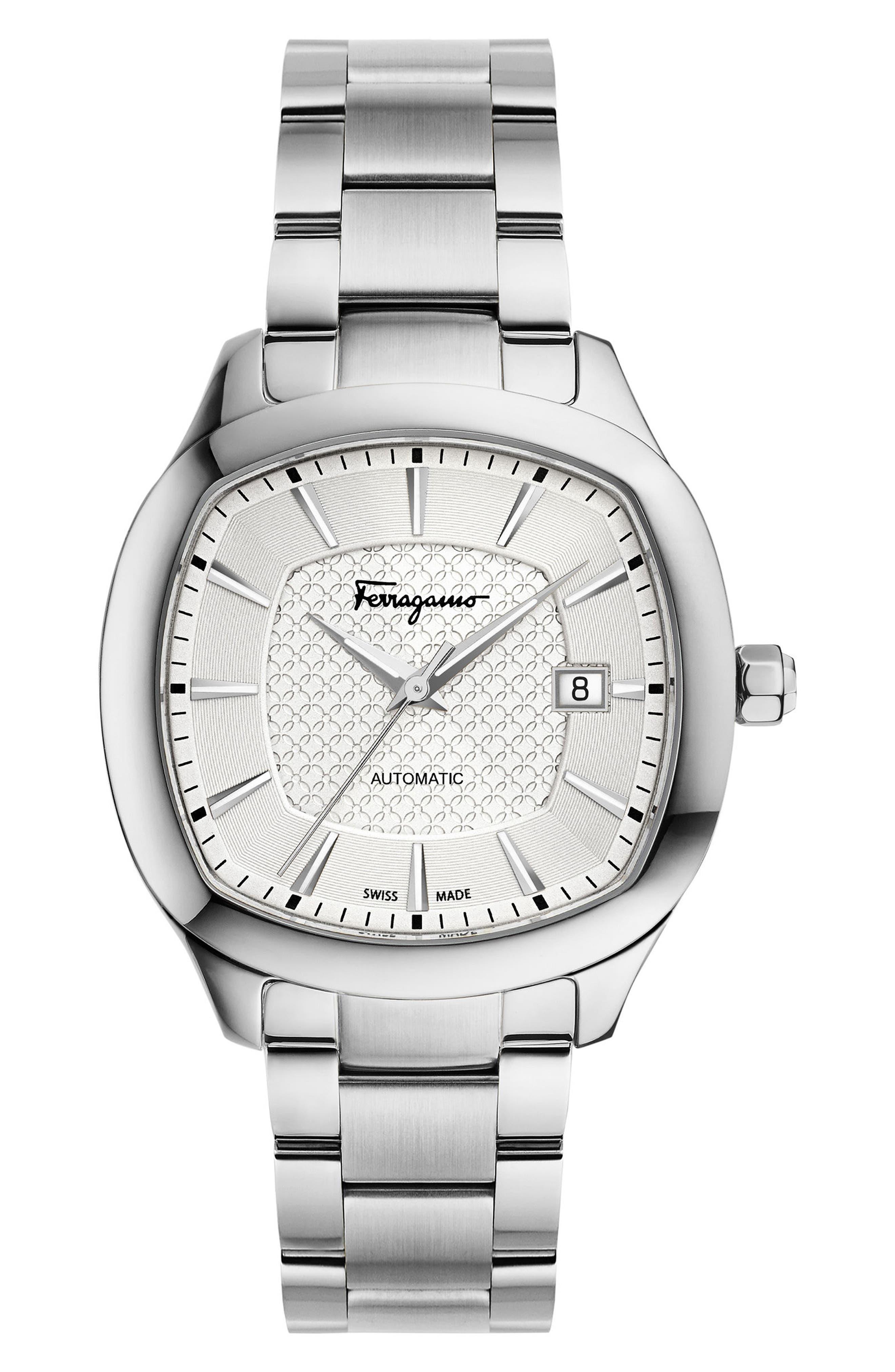 Square Automatic Bracelet Watch, 41mm,                             Main thumbnail 1, color,                             Silver