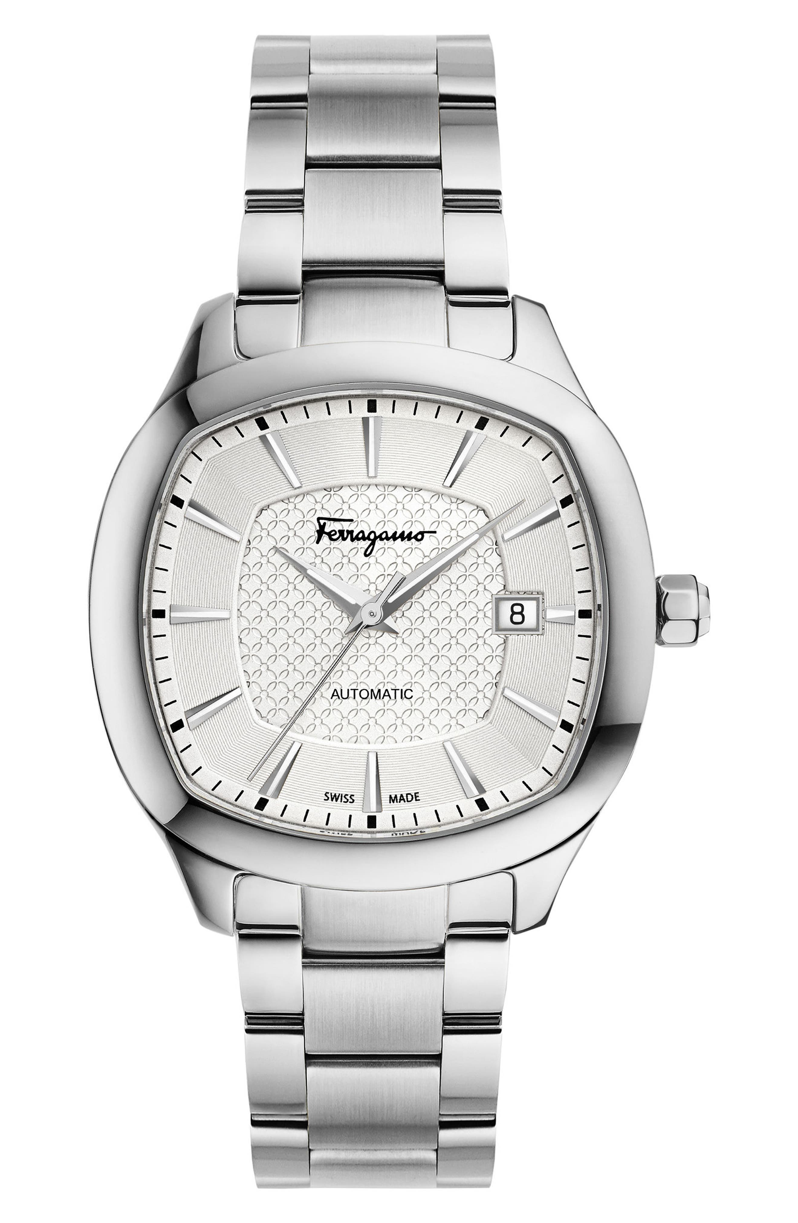 Square Automatic Bracelet Watch, 41mm,                         Main,                         color, Silver