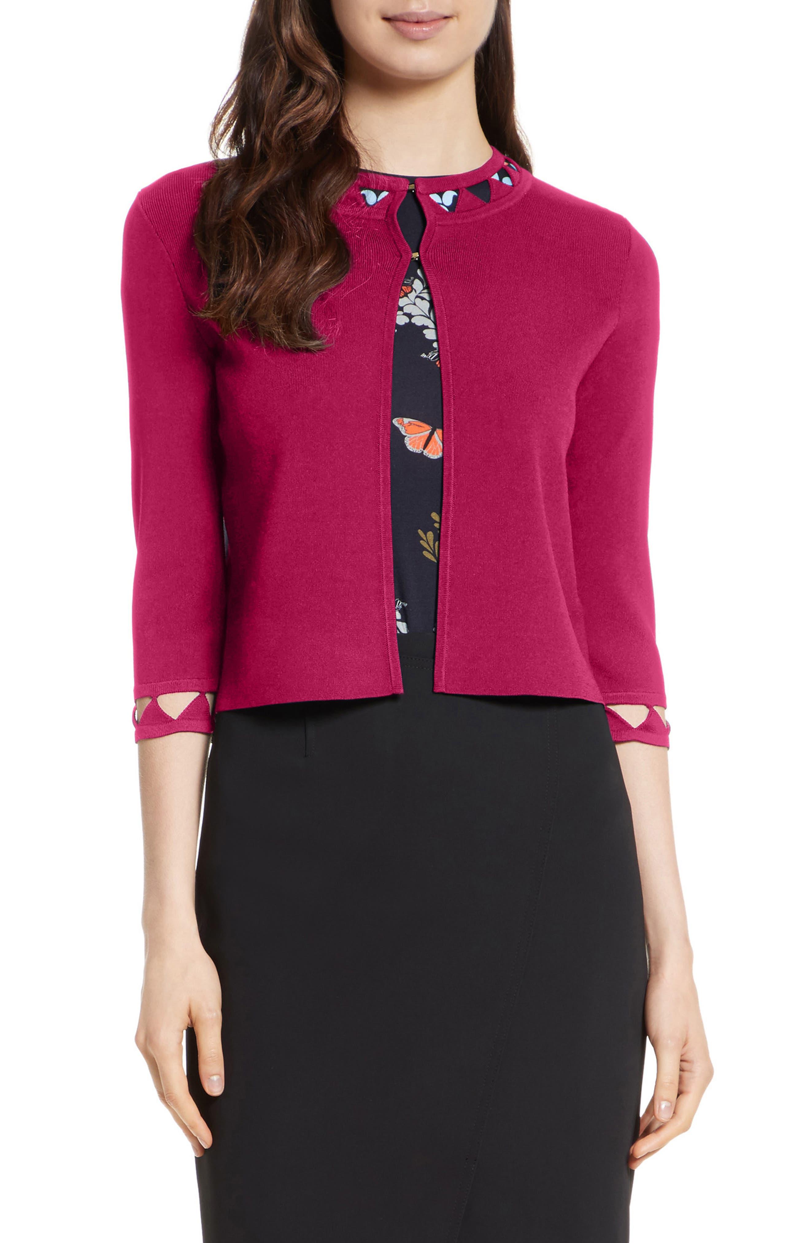 Lissye Cutout Detail Cardigan,                         Main,                         color, Deep Pink