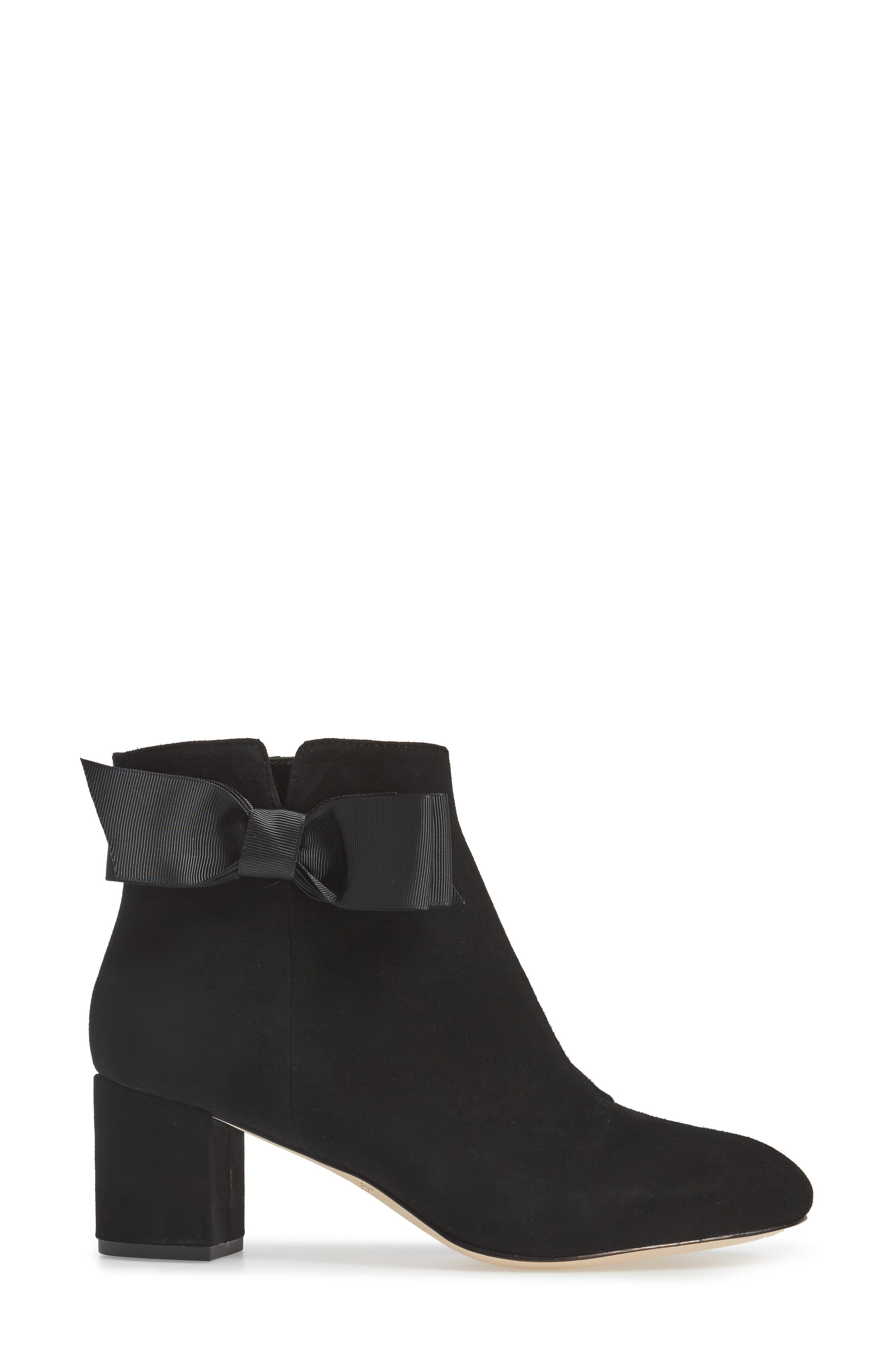 langley bow bootie,                             Alternate thumbnail 3, color,                             Black