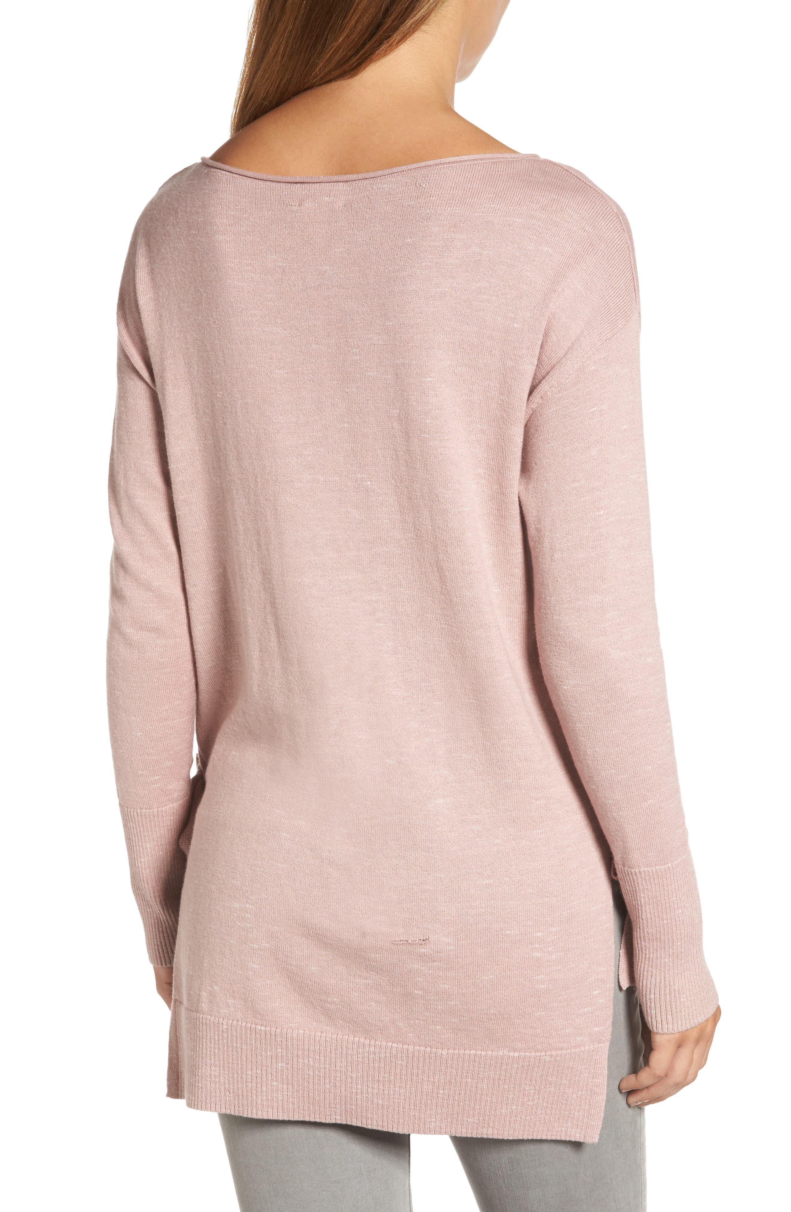Side Tie Tunic Top,                             Alternate thumbnail 2, color,                             Pink- Ivory Pattern