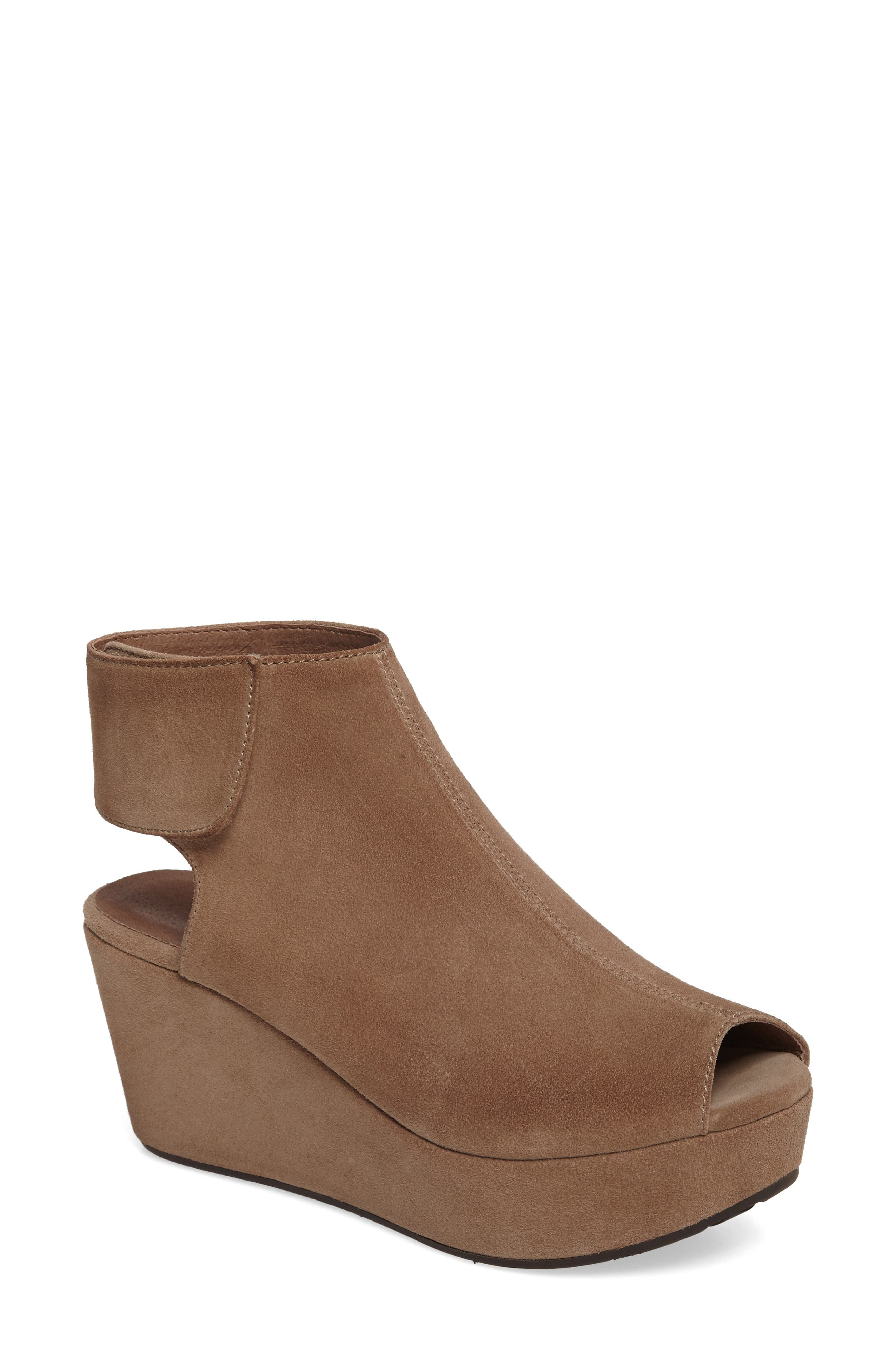 Cutout Wedge Sandal,                             Main thumbnail 1, color,                             Taupe Suede