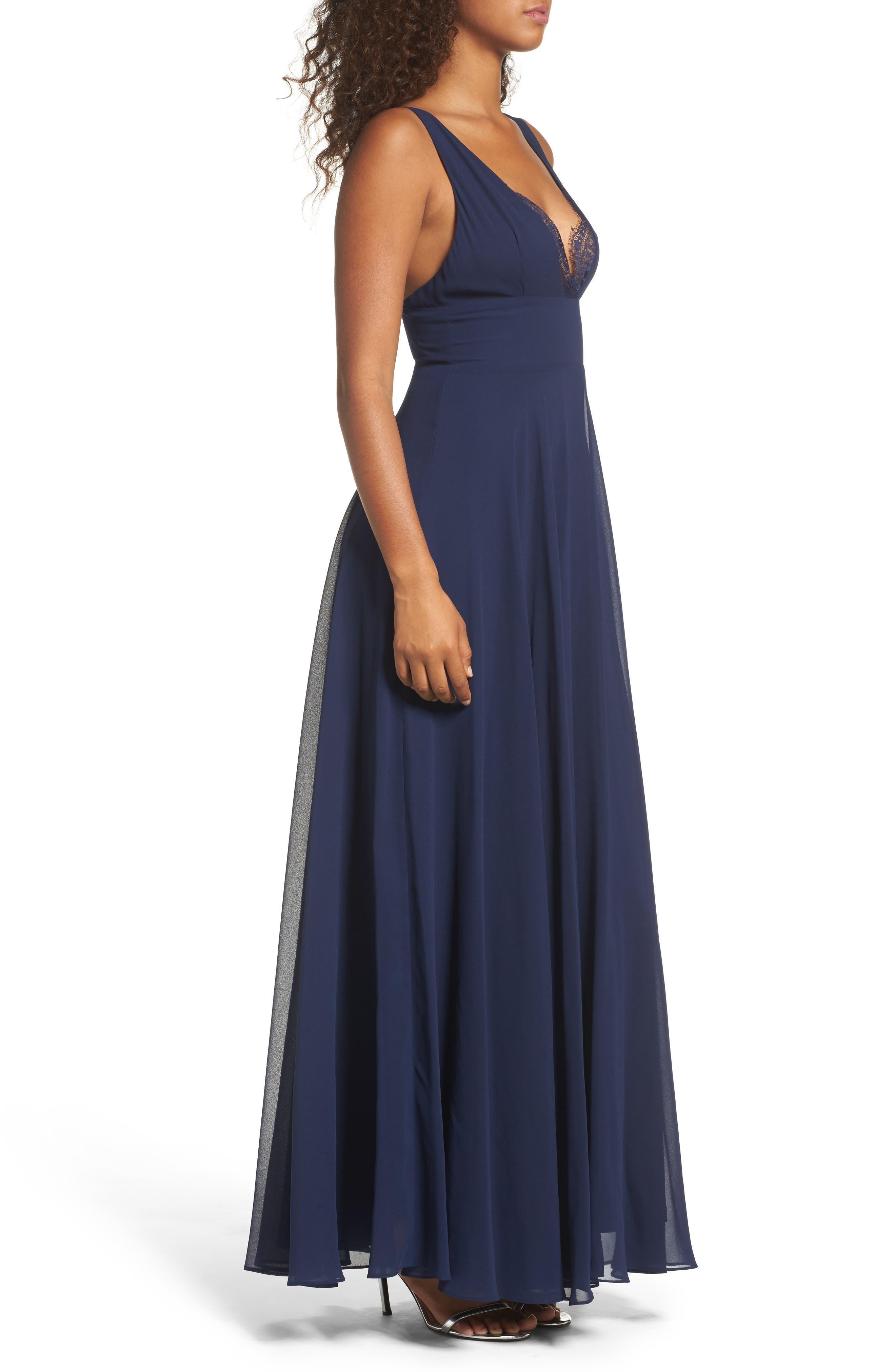 Alternate Image 3  - Lulus Lace Trim Chiffon Maxi Dress