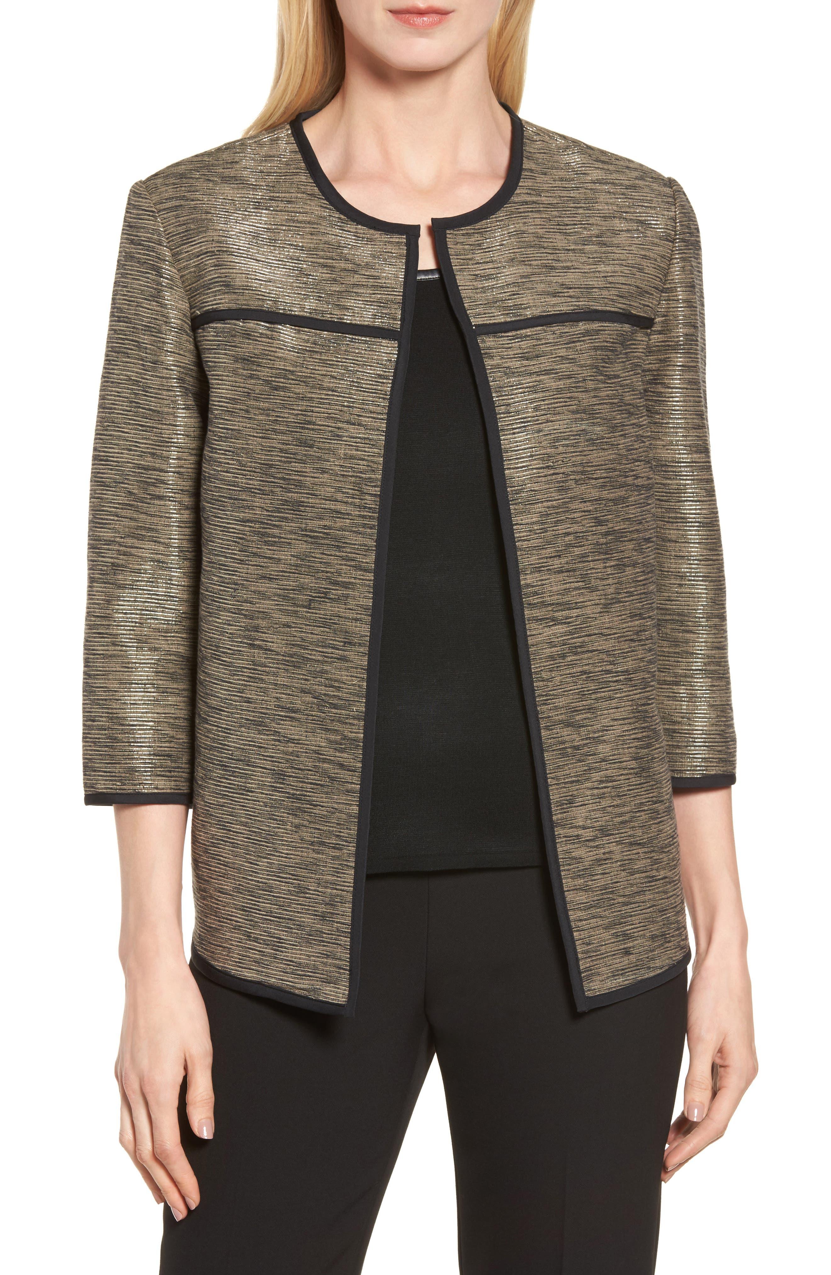 Metallic Tweed Jacket,                             Main thumbnail 1, color,                             Ash/ Black/ Cat Eye