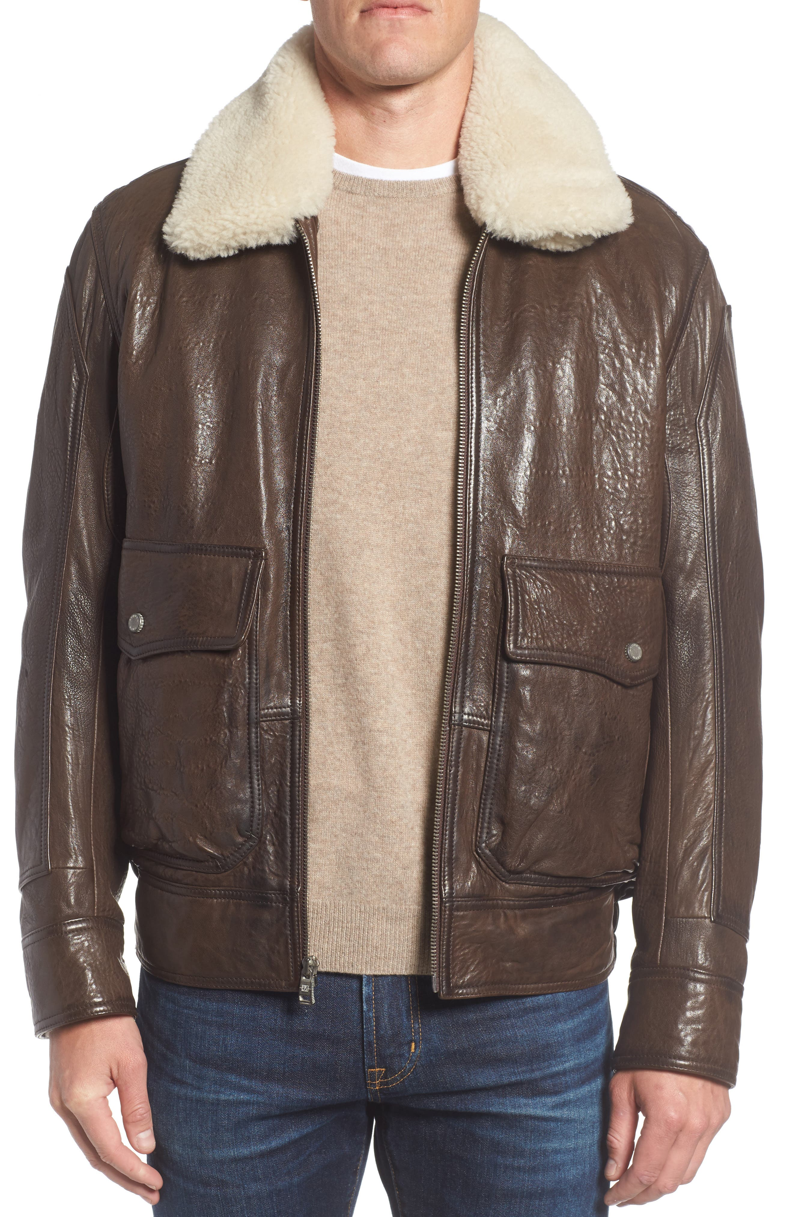 Andrew Marc 3614 Leather Jacket with Genuine Lamb Shearling Collar