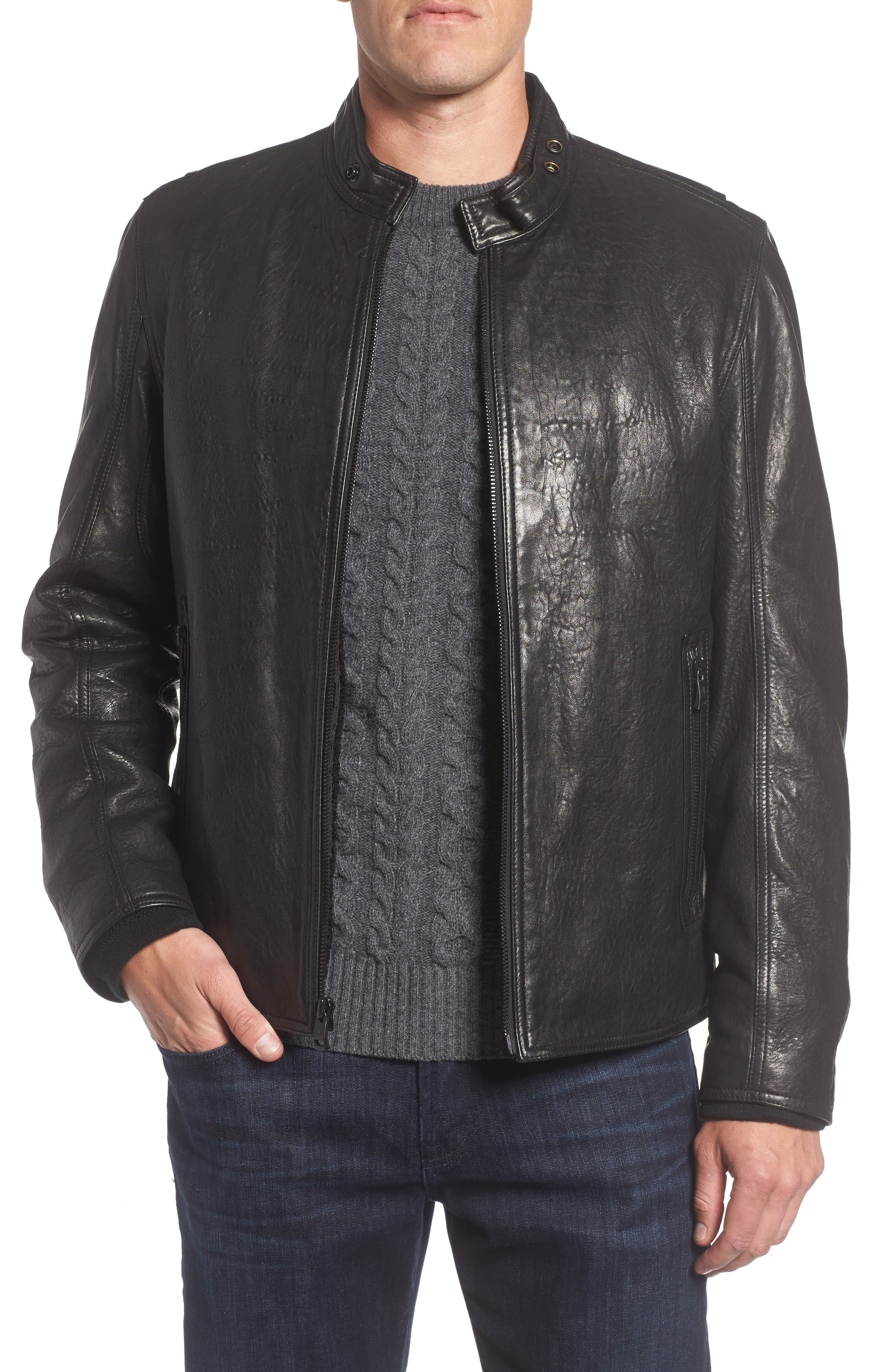 Andrew Marc Cafe Racer Slim Leather Jacket with Faux Shearling Lining