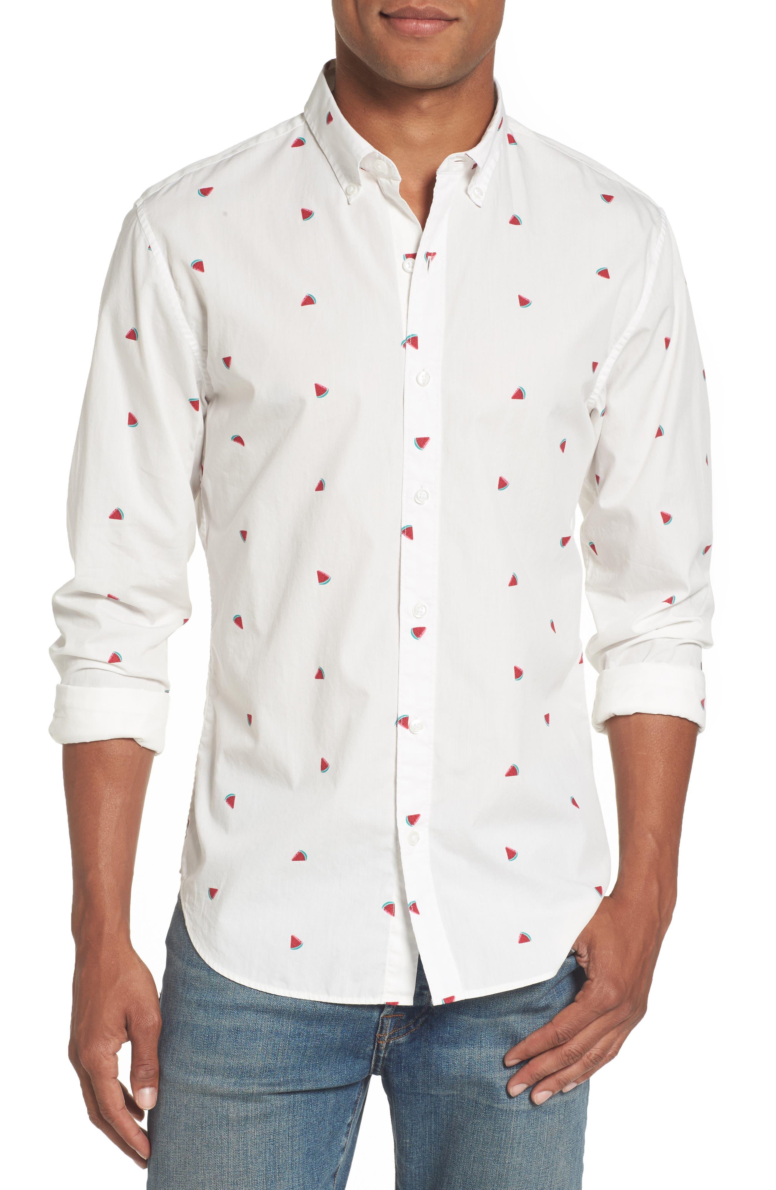 Summerweight Slim Fit Print Sport Shirt,                         Main,                         color, Watermelon Print