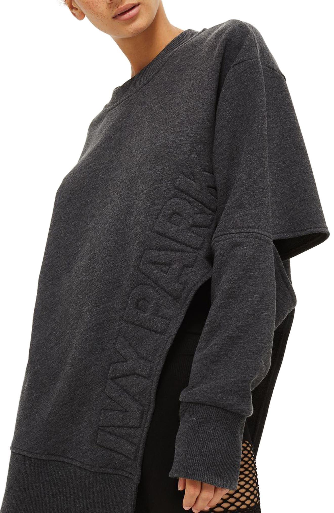 Logo Embossed Sliced Sweatshirt,                             Main thumbnail 1, color,                             Charcoal Marl