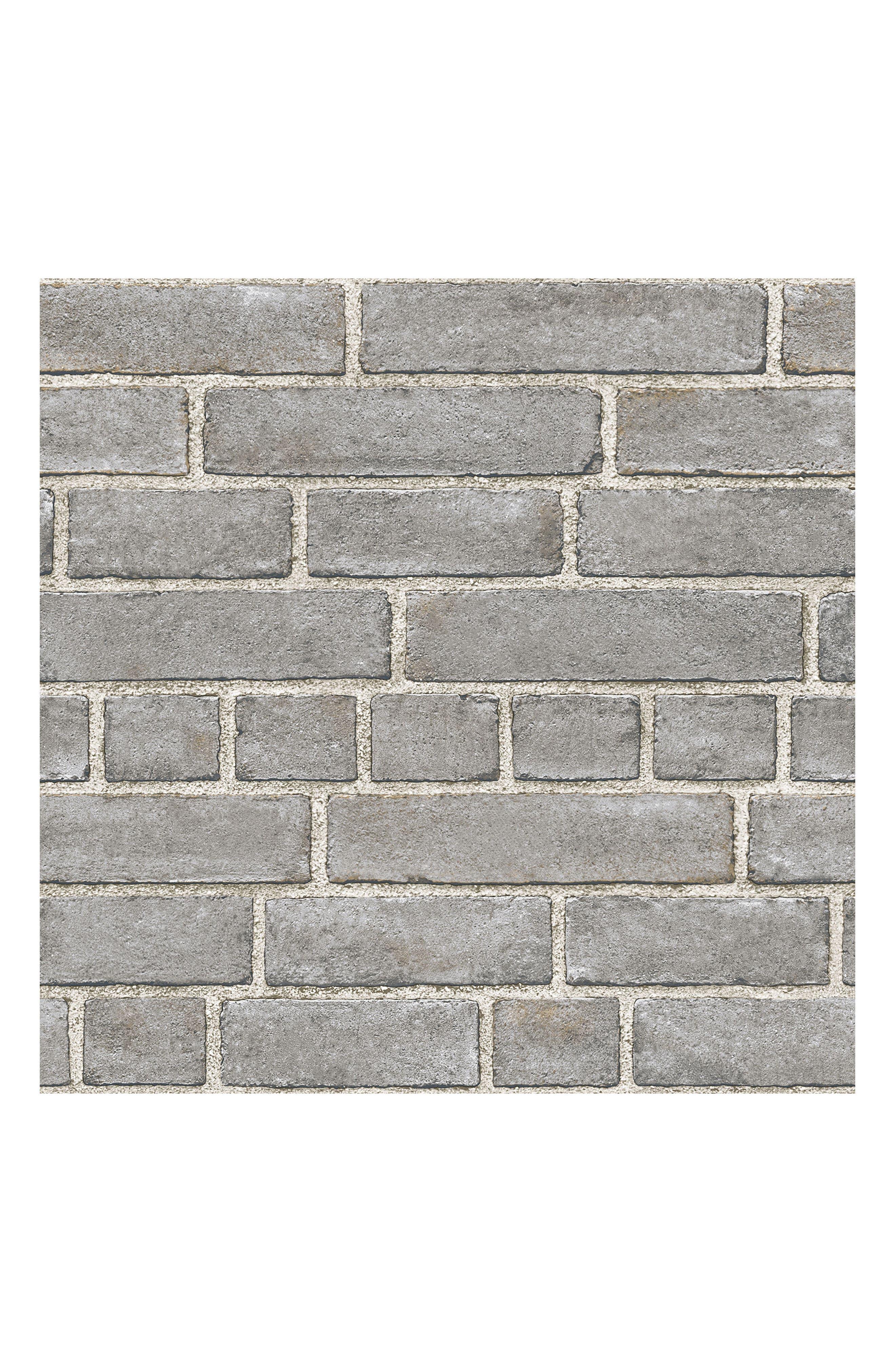 Grey Brick Fade Peel & Stick Vinyl Wallpaper,                         Main,                         color, Grey