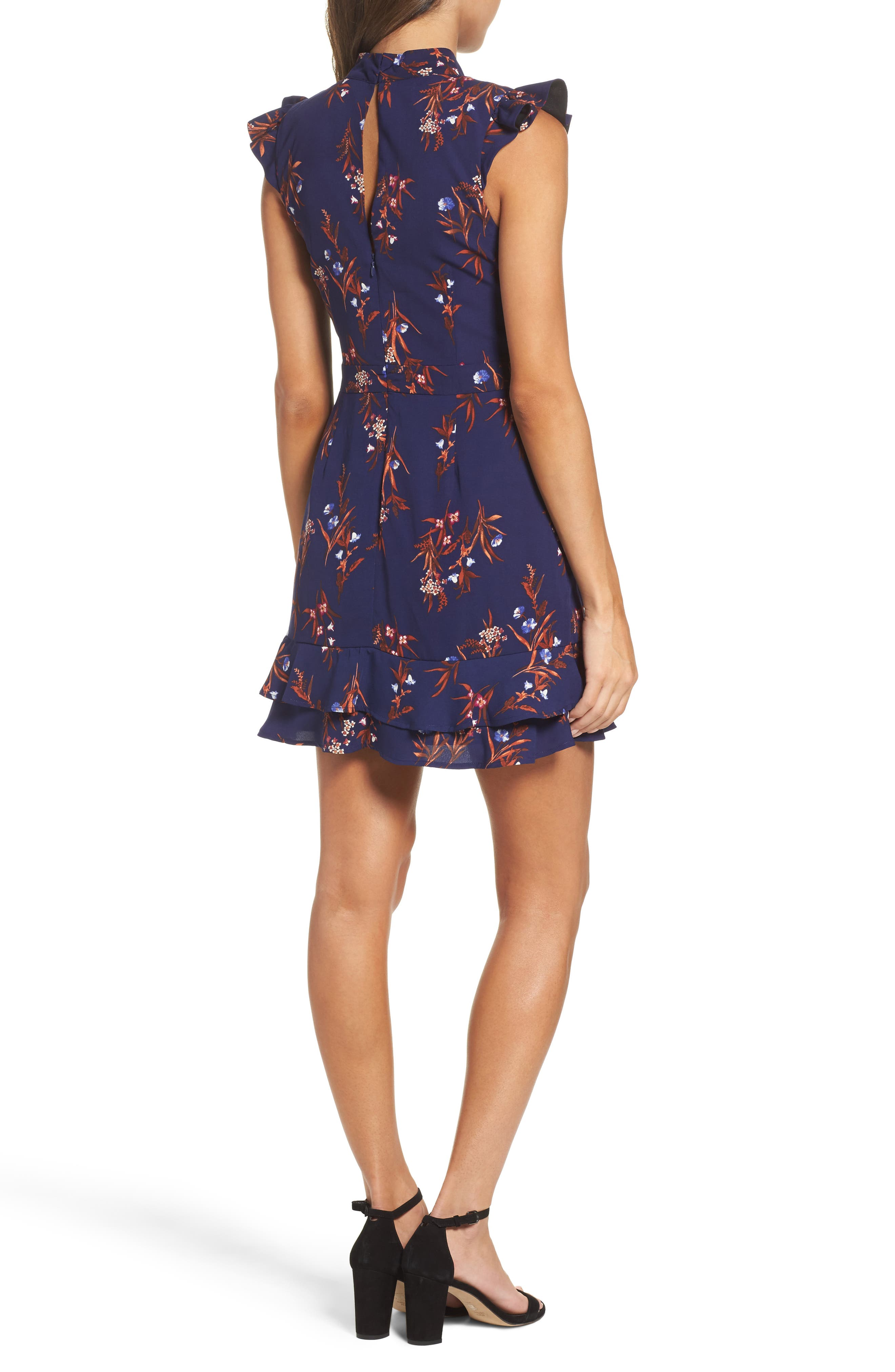 Phoebe Ruffle Fit & Flare Dress,                             Alternate thumbnail 2, color,                             Midnight/ Rust