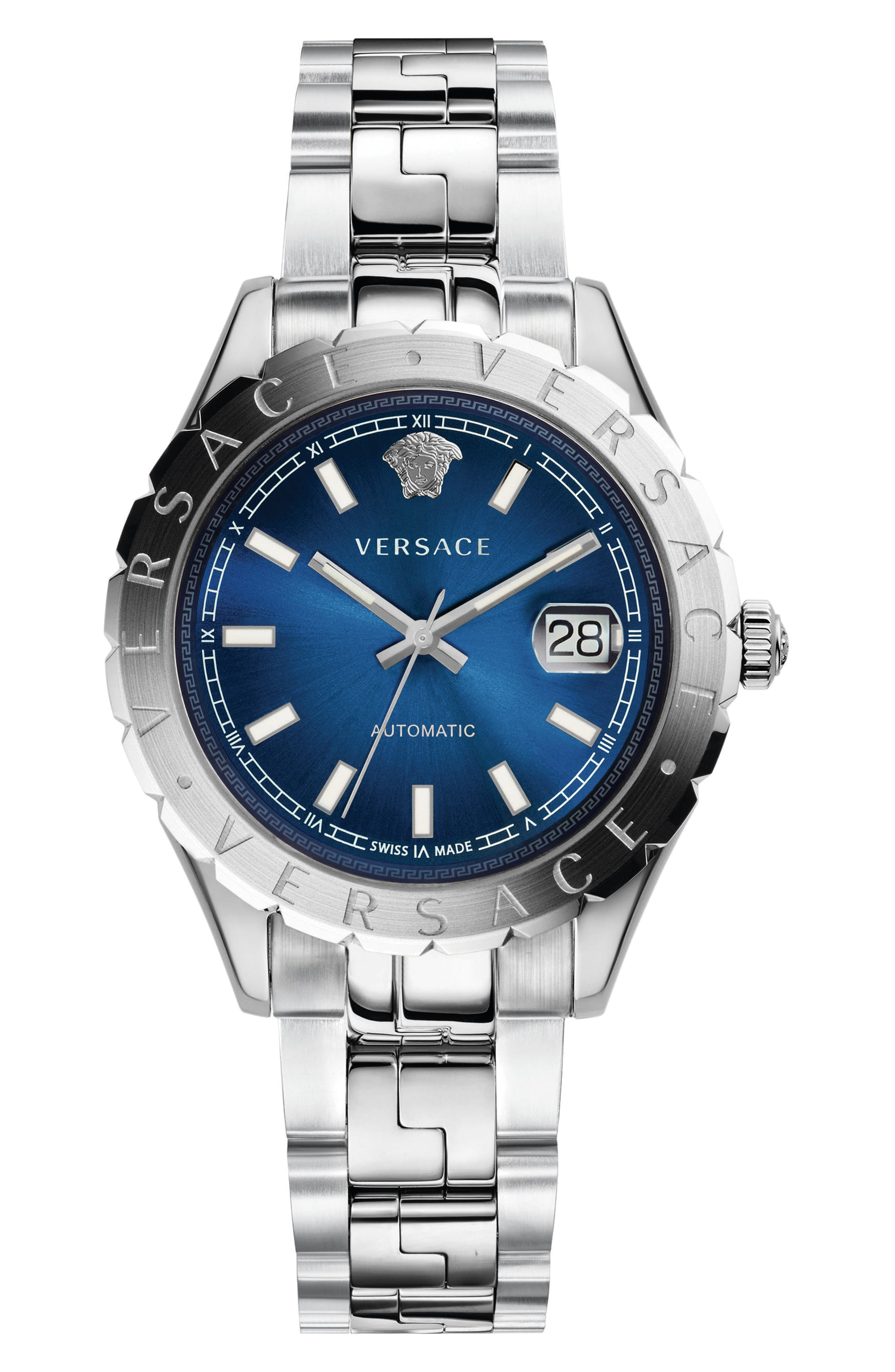 Hellenyium Automatic Bracelet Watch, 42mm,                         Main,                         color, Silver/ Blue/ Silver