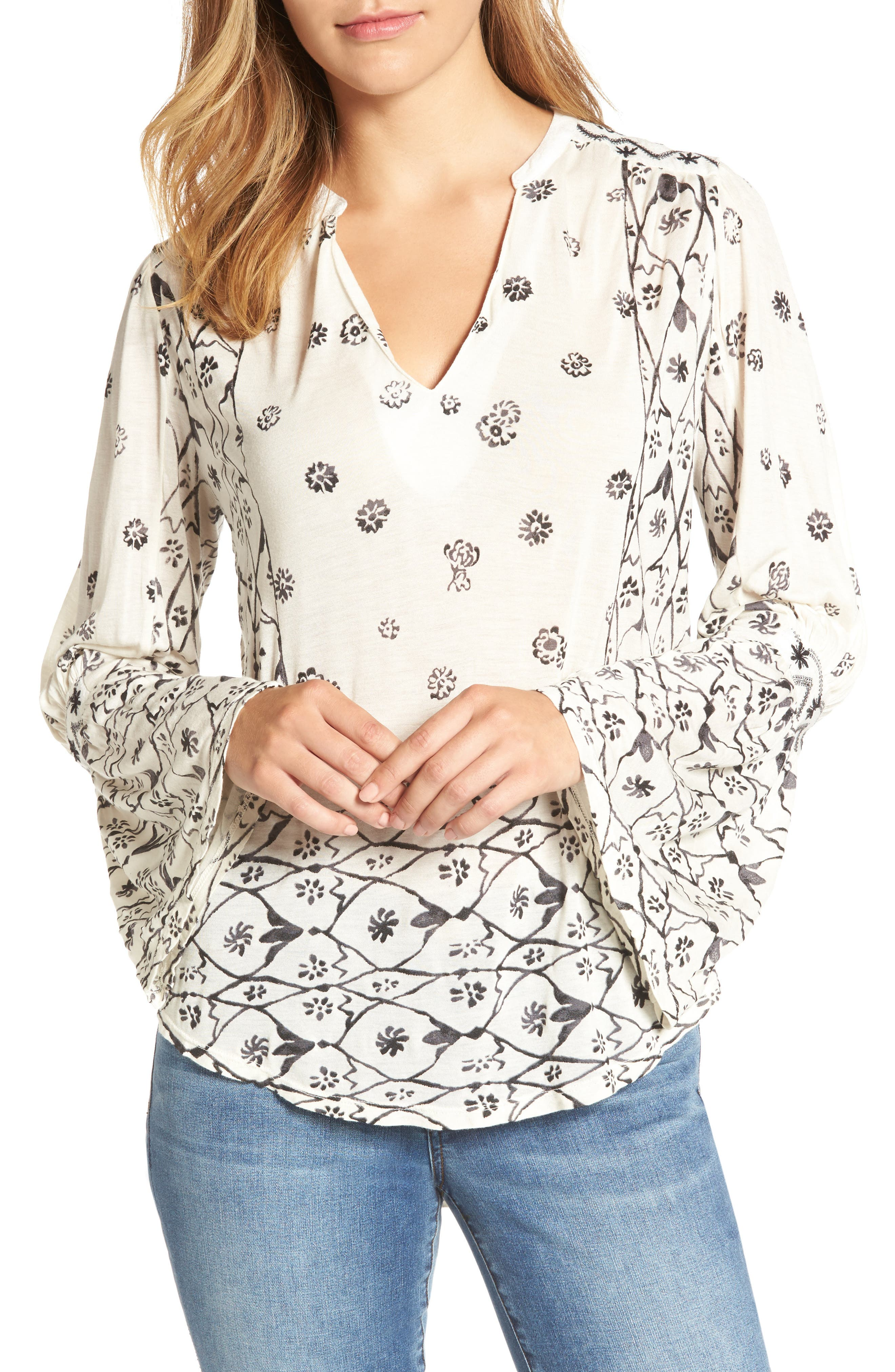 LUCKY BRAND Mix Geo Print Peasant Blouse