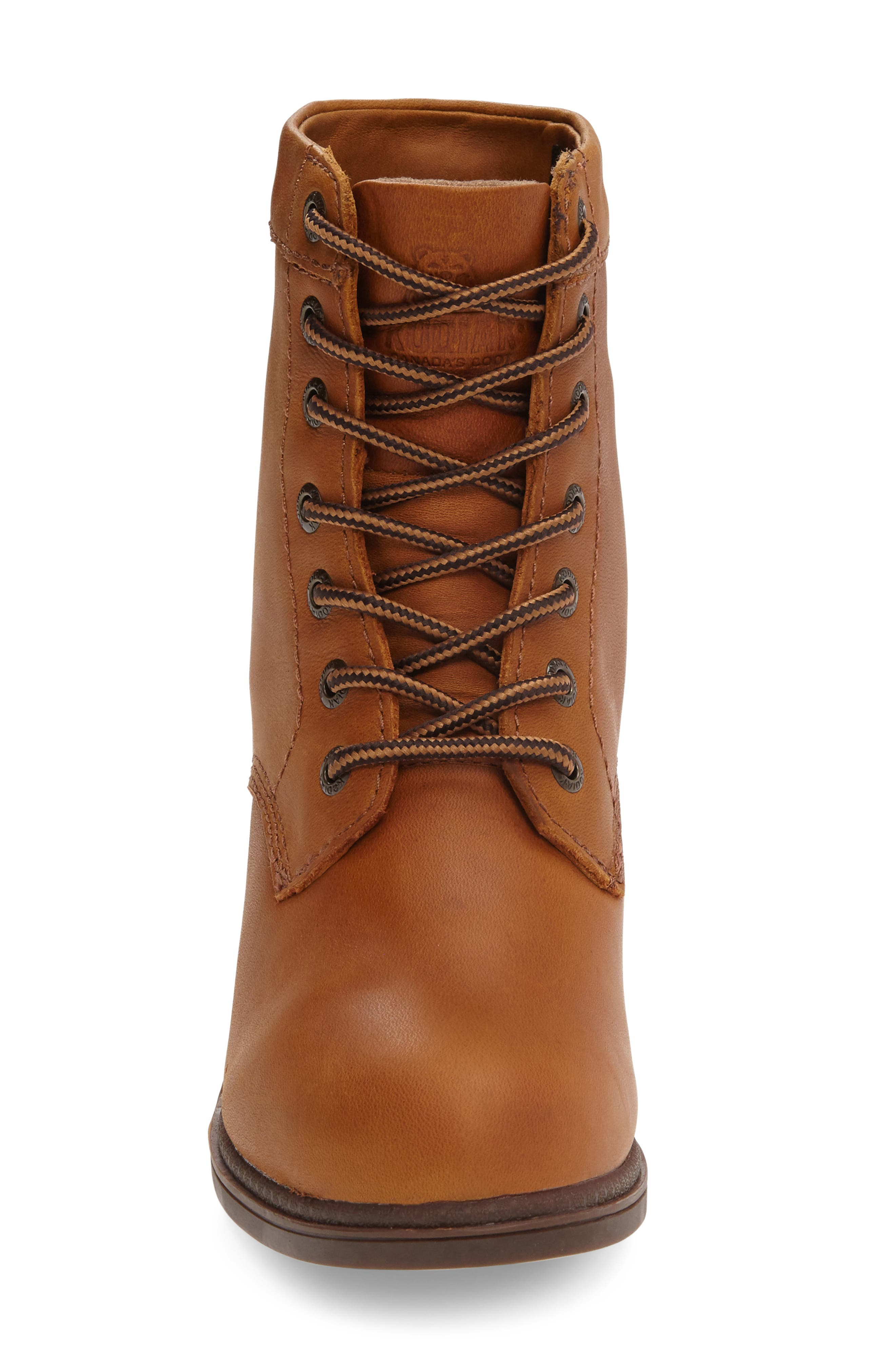 Claire Waterproof Bootie,                             Alternate thumbnail 3, color,                             Caramel Leather