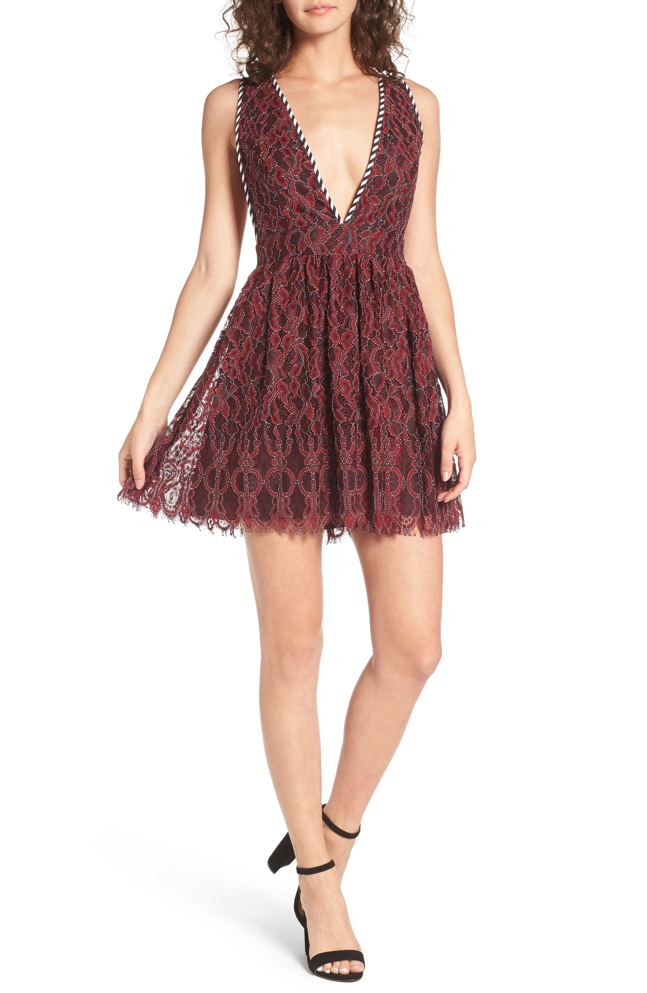 Starry Night Lace Minidress,                         Main,                         color, Corded Oxblood