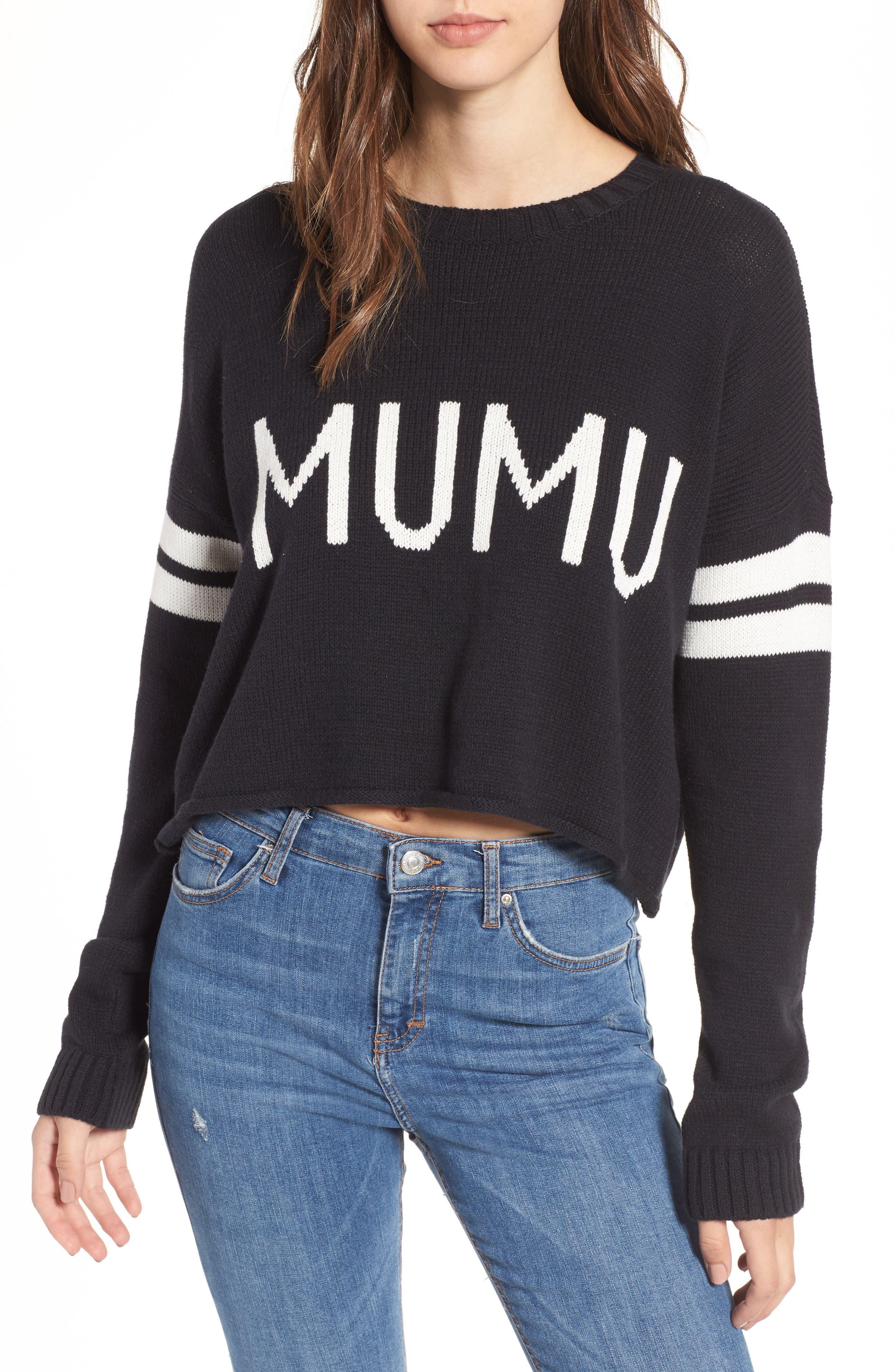 Crop Varsity Sweater,                             Main thumbnail 1, color,                             Mumu Stripe Black