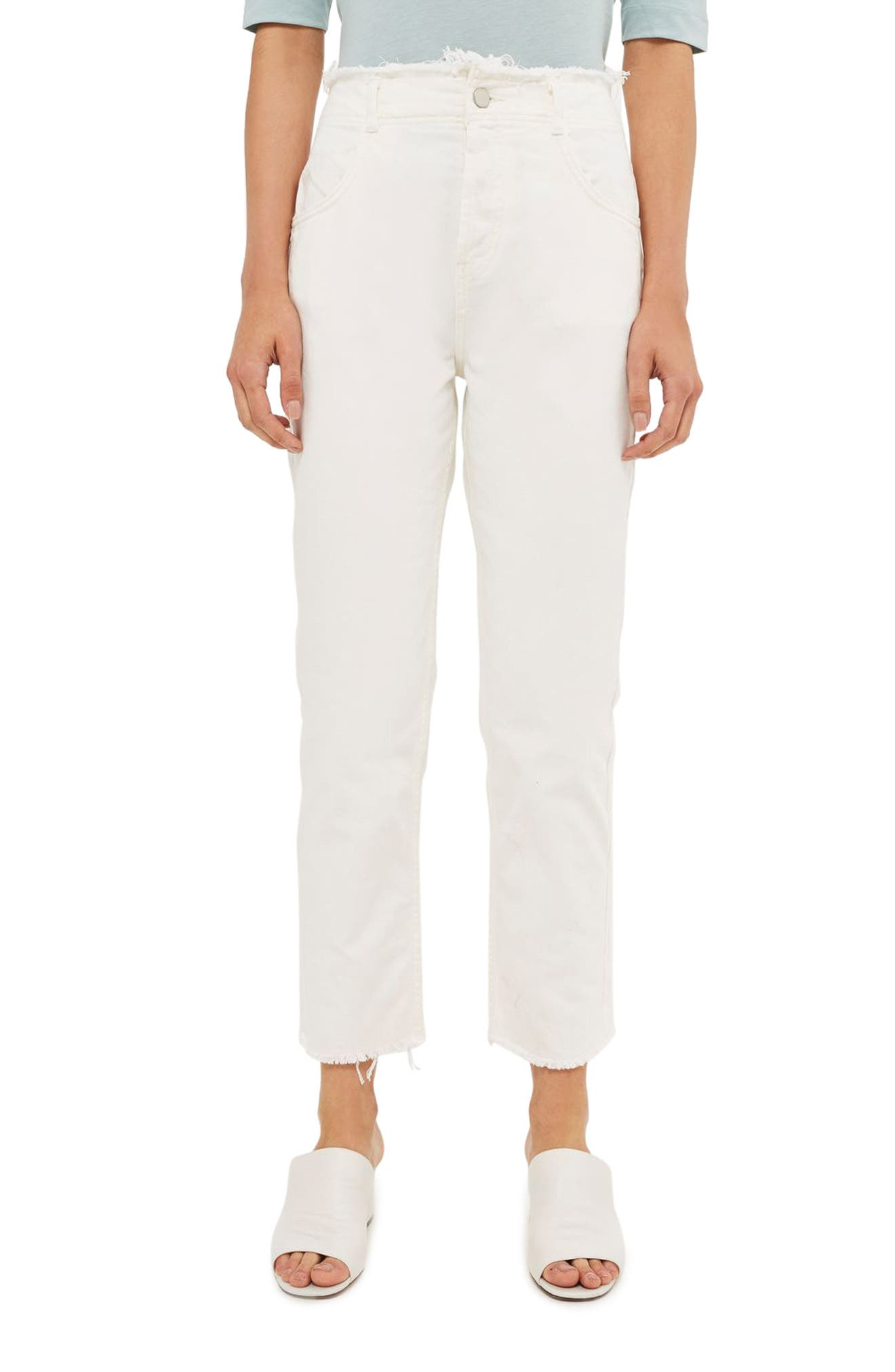 Topshop Boutique High Waist Frayed Hem Jeans