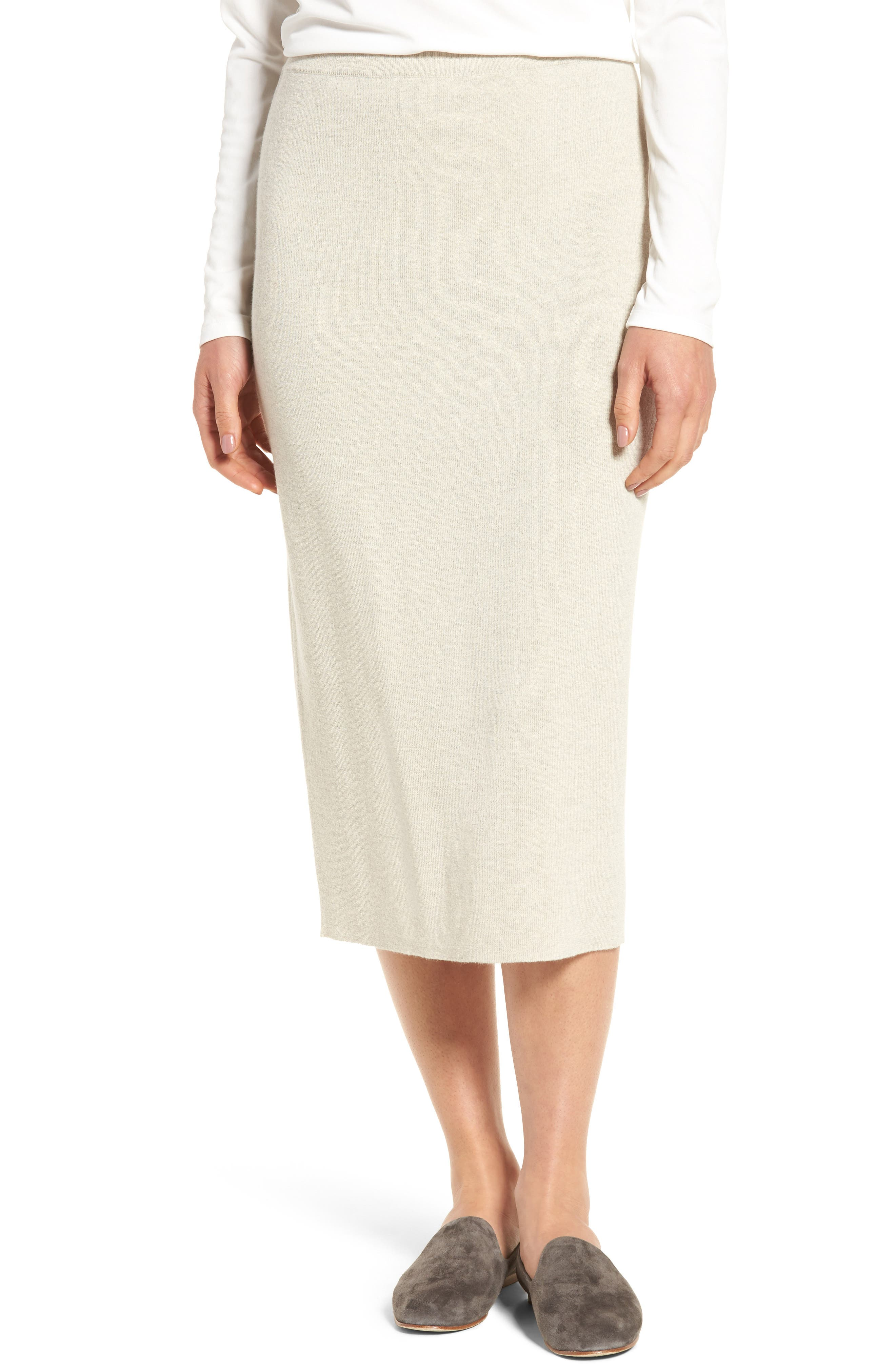 Eileen Fisher Wool Knit Pencil Skirt