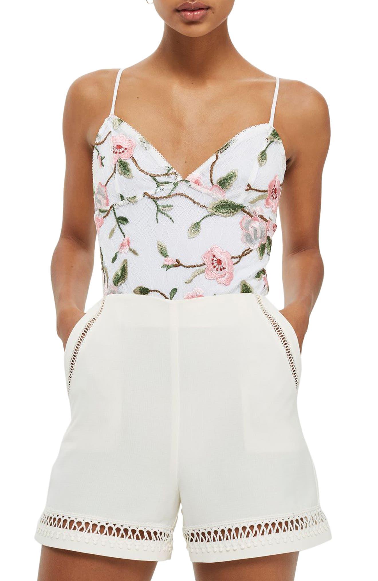 Embroidered Lace Bodysuit,                         Main,                         color, Cream Multi