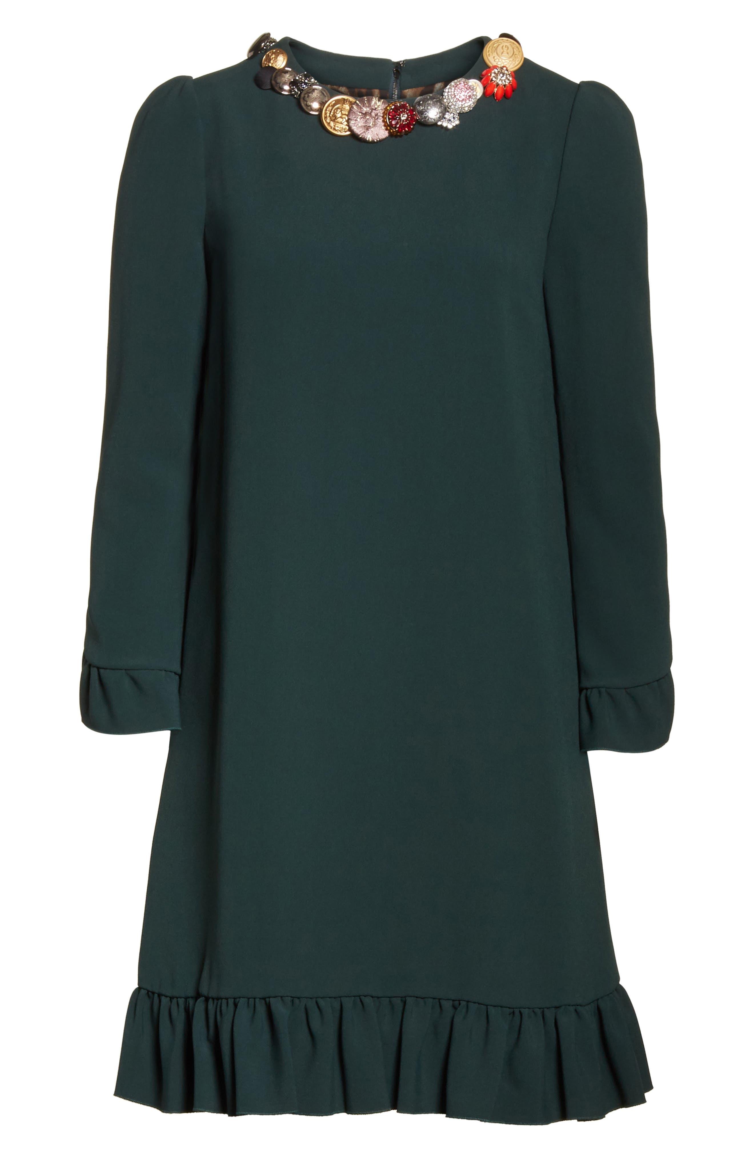 Button Trim Ruffle Hem Dress,                             Alternate thumbnail 7, color,                             Dark Green