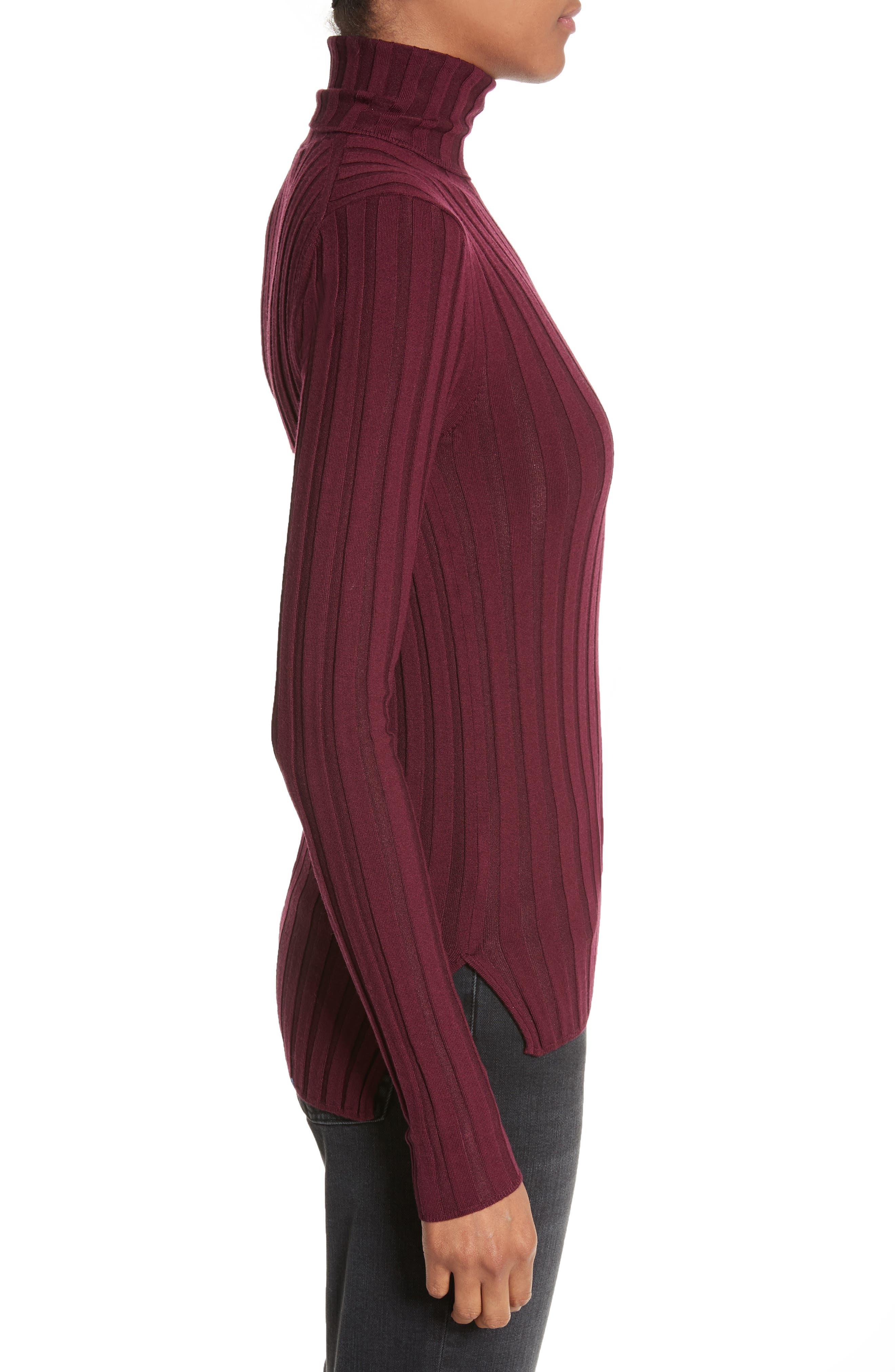Corina Fitted Turtleneck Sweater,                             Alternate thumbnail 3, color,                             Burgundy