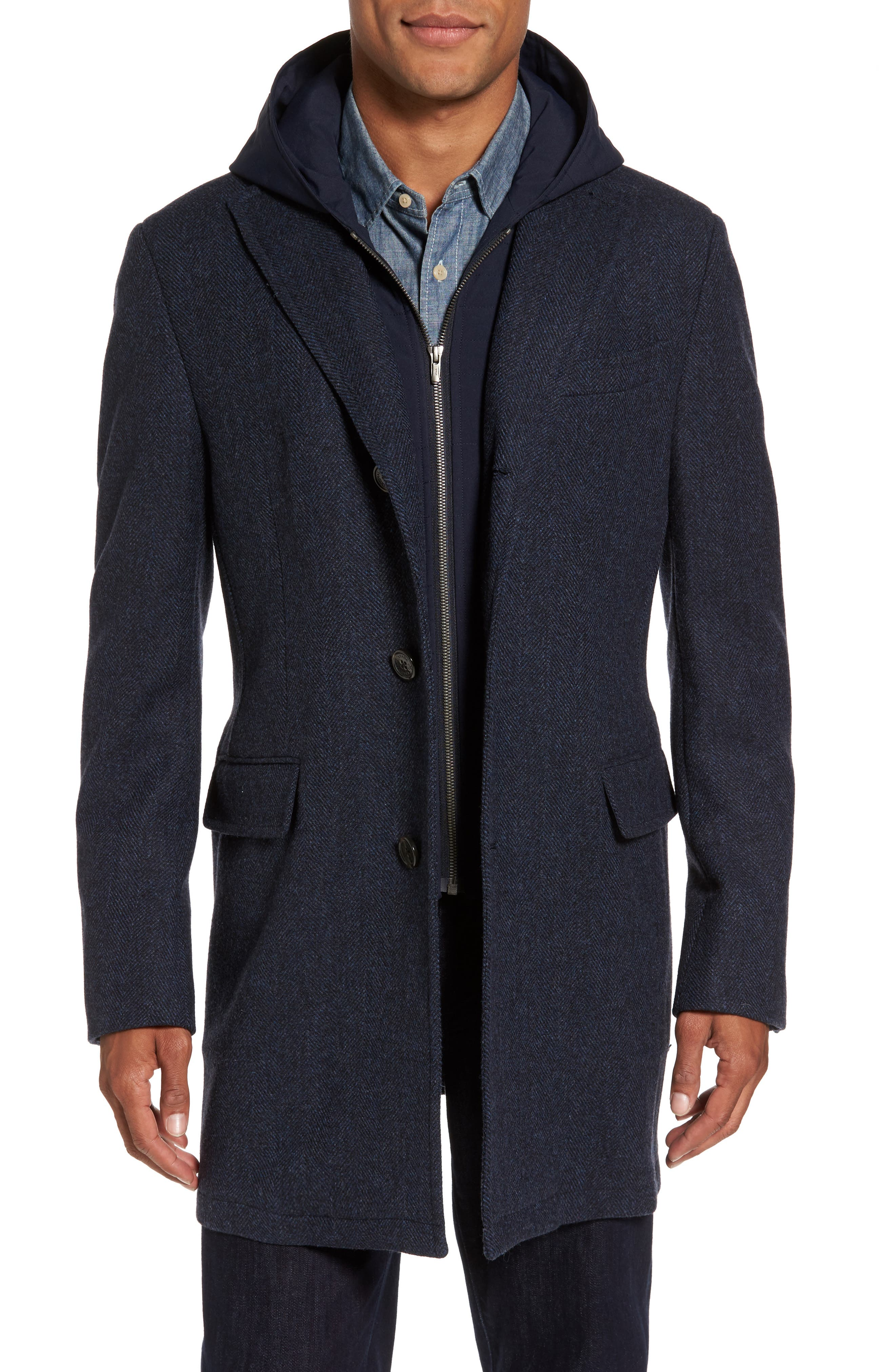 Alternate Image 1 Selected - Cardinal of Canada Hooded Wool & Cashmere Topcoat