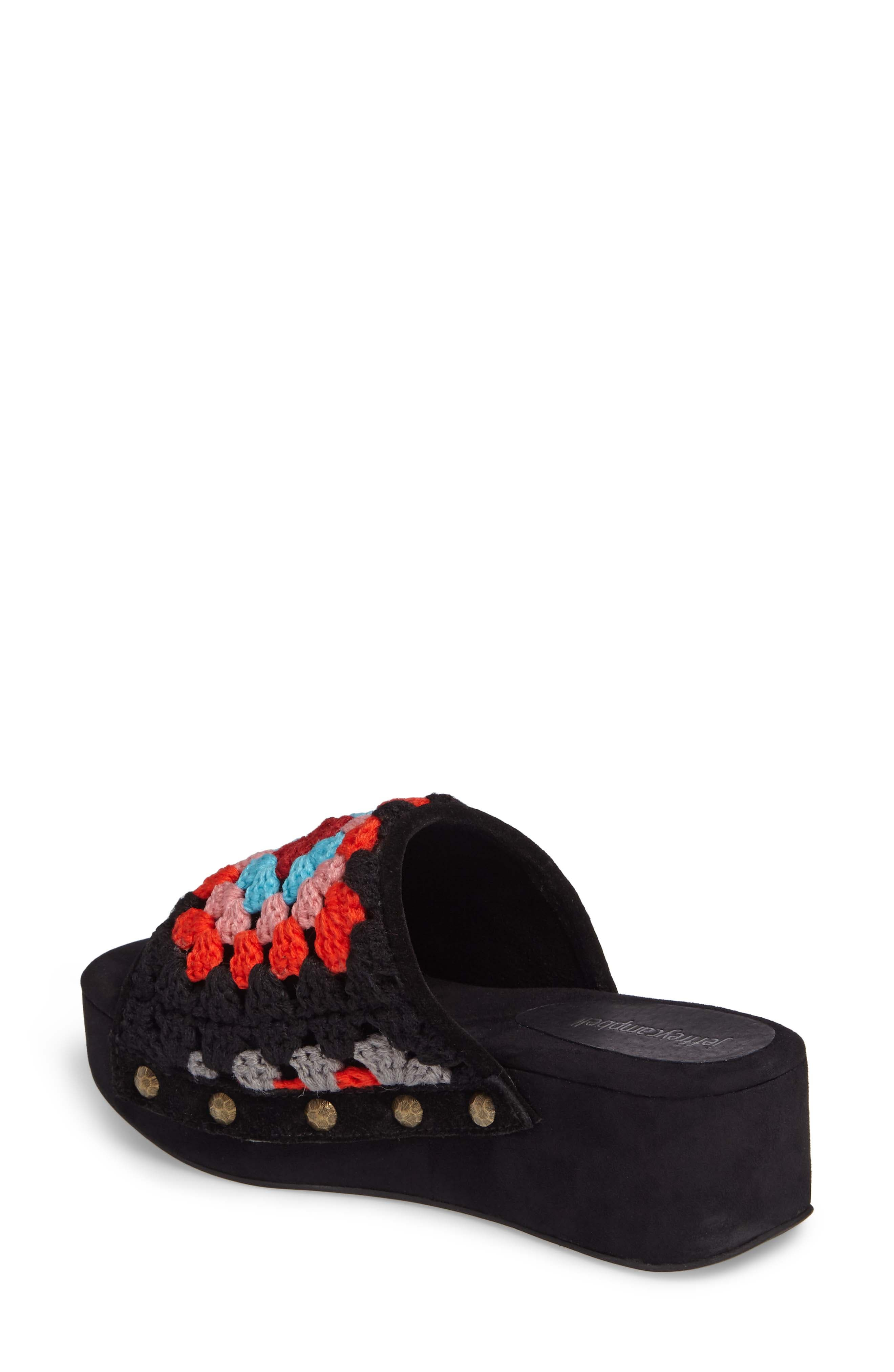 Nonna Crocheted Platform Slide Sandal,                             Alternate thumbnail 2, color,                             Black Suede Multi