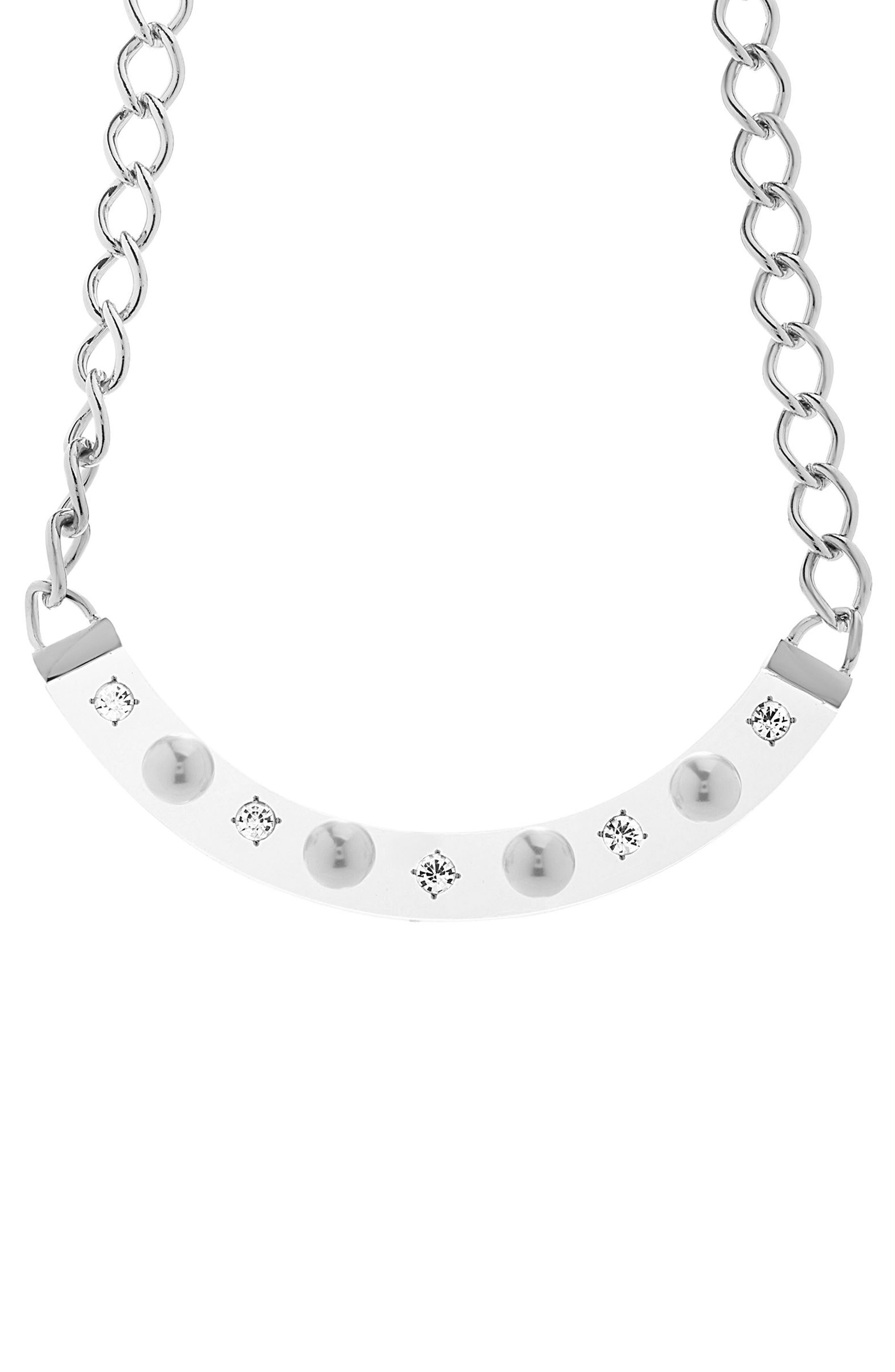 Crescent Bib Necklace,                             Main thumbnail 1, color,                             Ivory