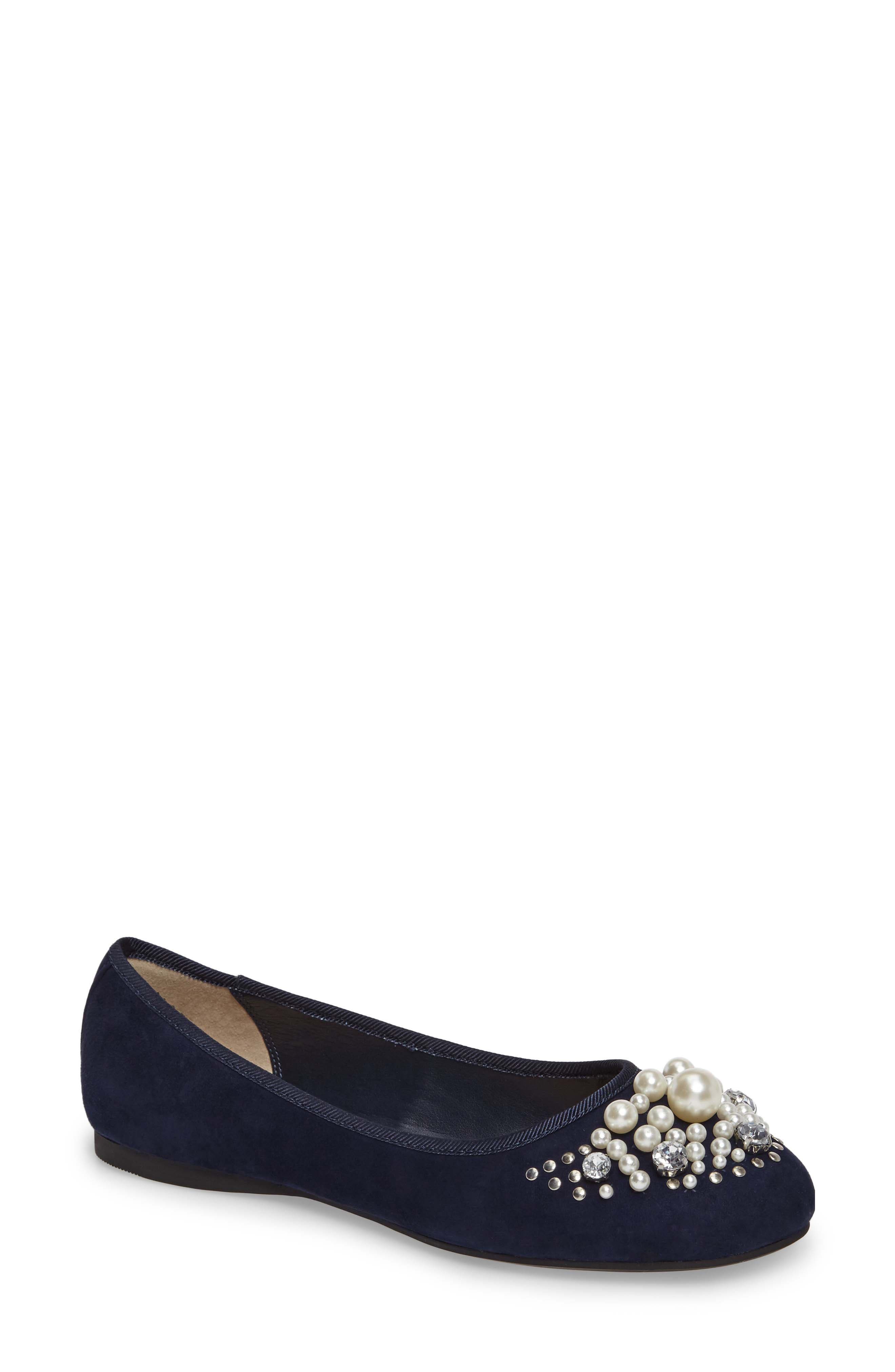 BP. Gracee Imitation Pearl Embellished Flat (Women)