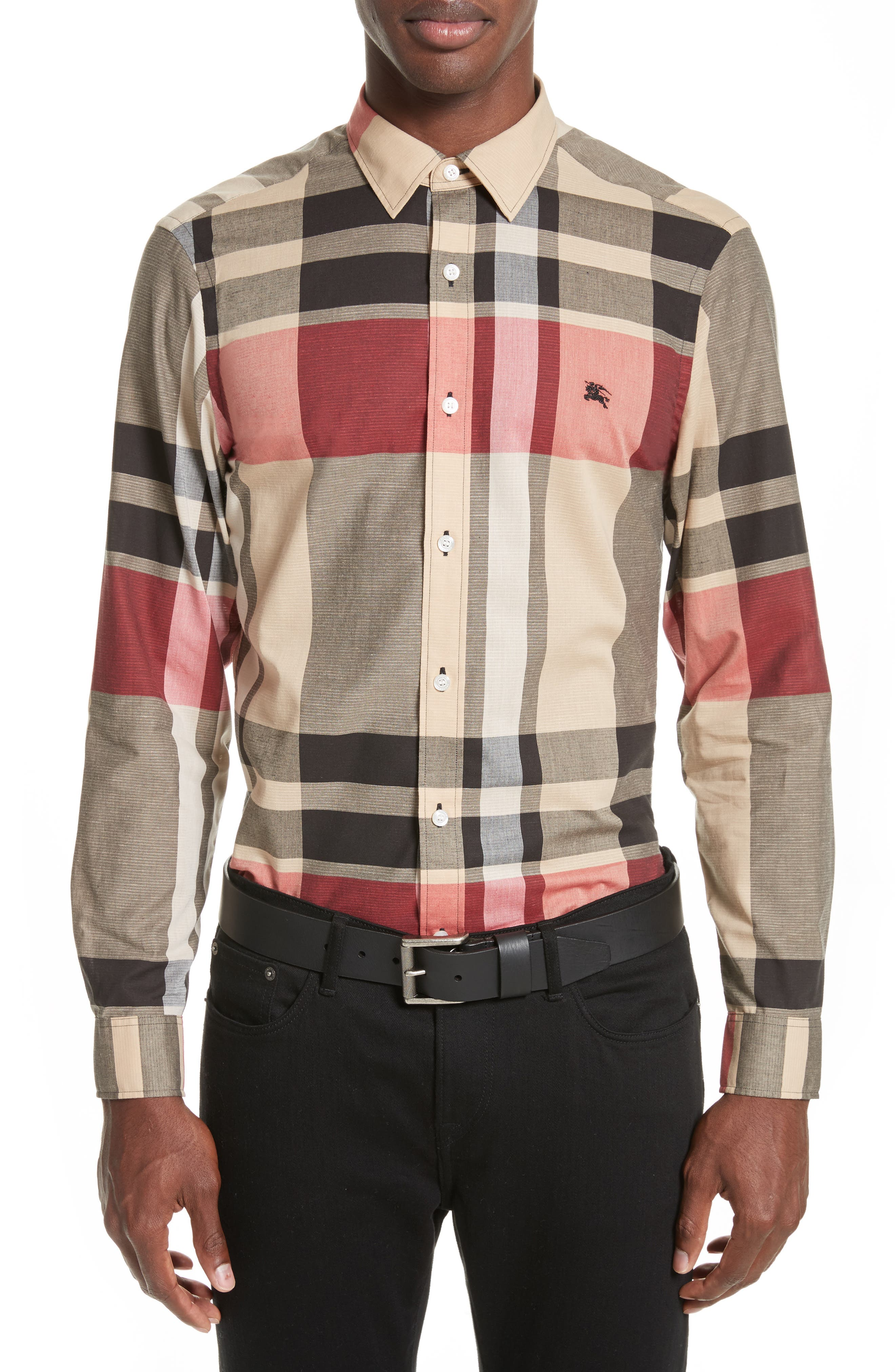 Burberry Coatson Check Slim Fit Cotton & Linen Sport Shirt