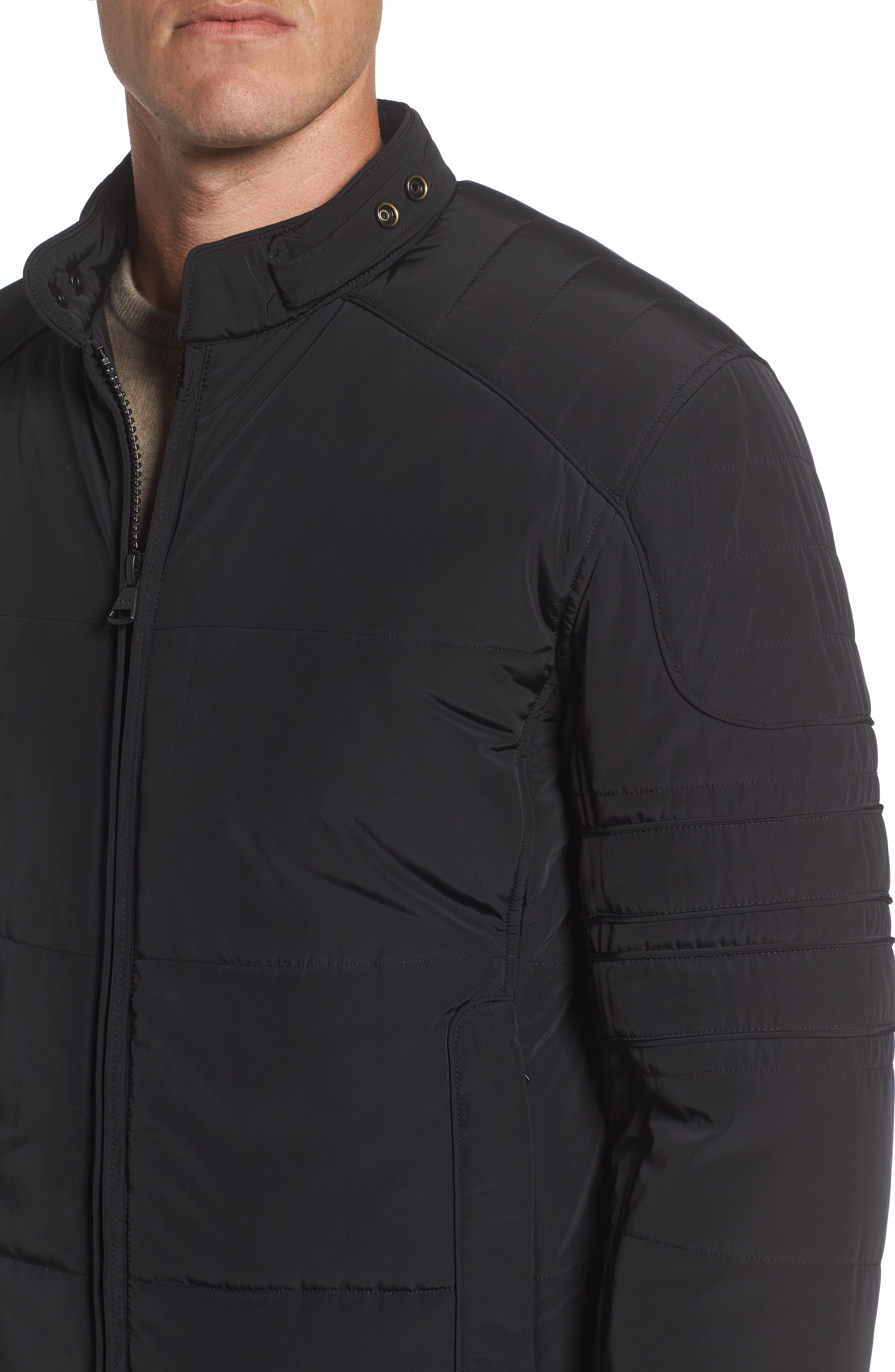 Quilted Moto Jacket,                             Alternate thumbnail 5, color,                             Black