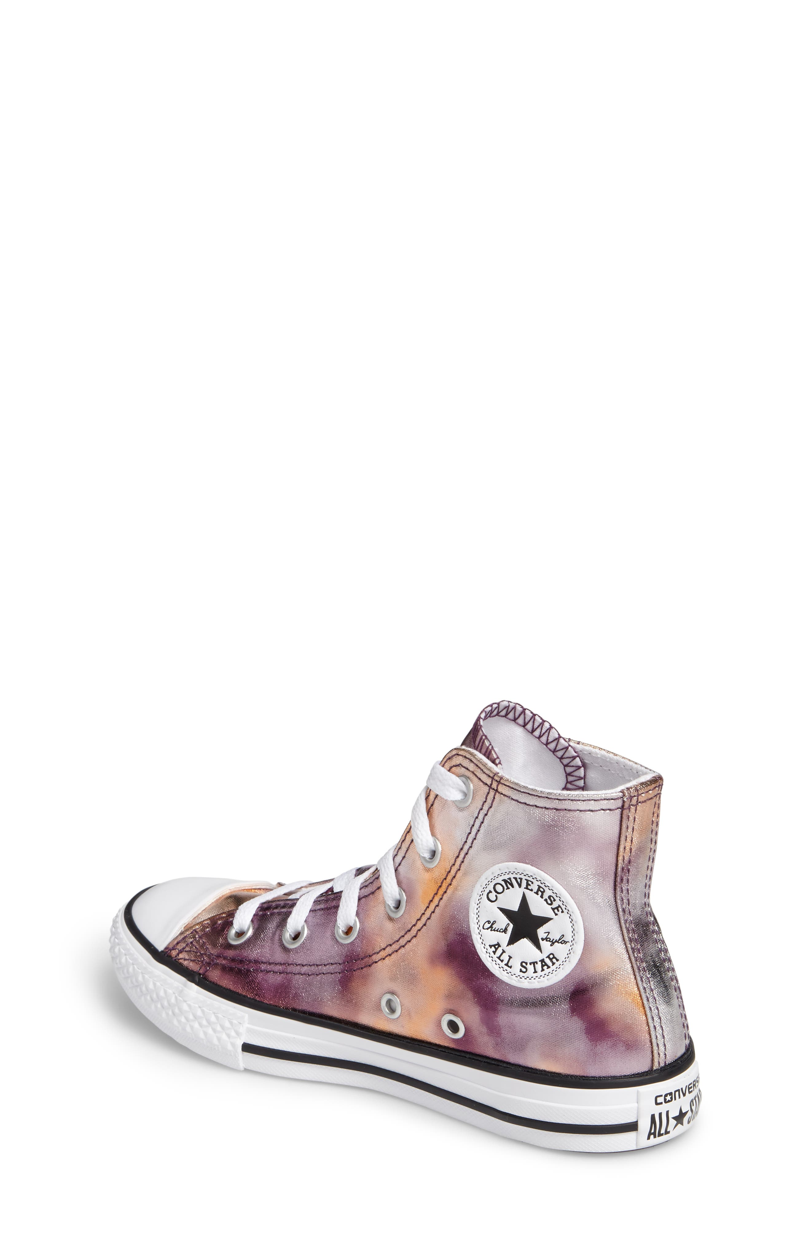 Chuck Taylor<sup>®</sup> All Star<sup>®</sup> Metallic High Top Sneaker,                             Alternate thumbnail 2, color,                             Dusk Pink Coated Canvas