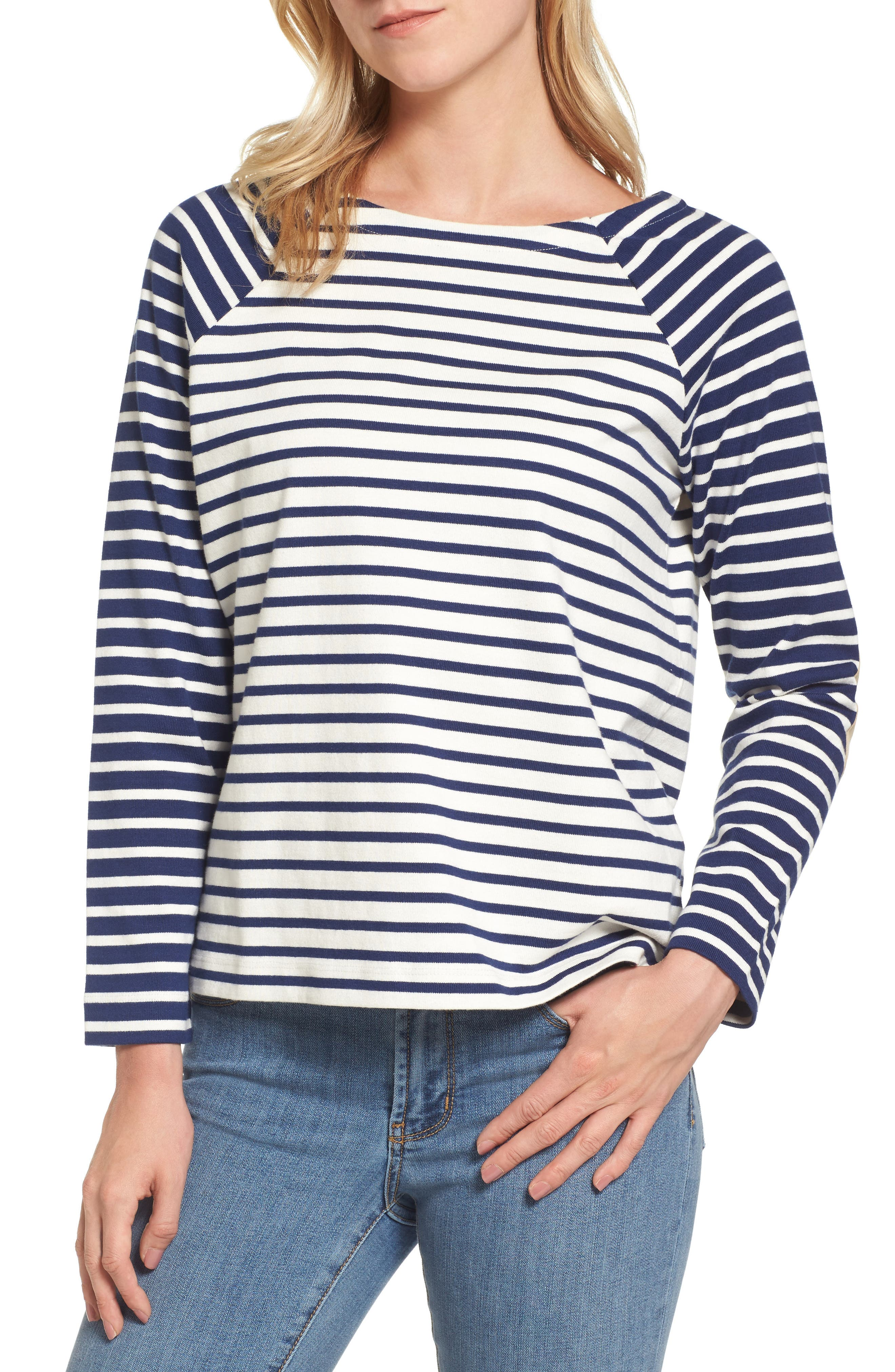 Elbow Patch Mixed Stripe Top,                             Main thumbnail 1, color,                             Deep Bay