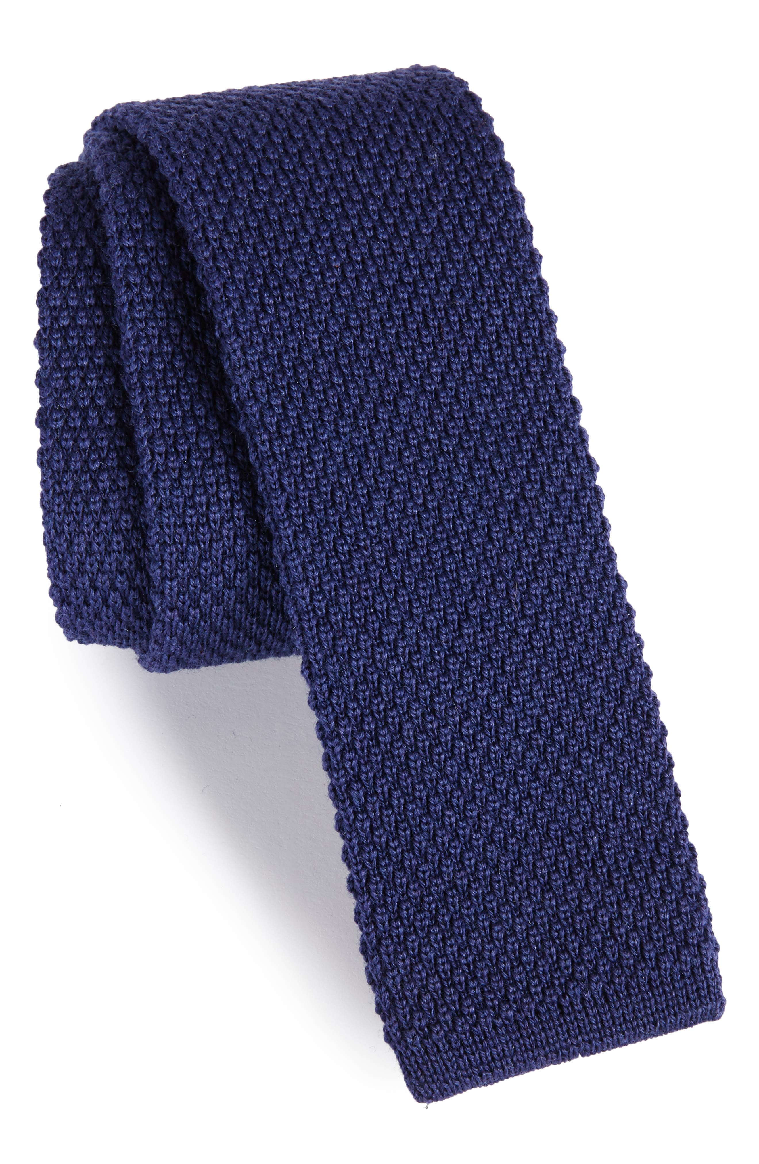Solid Knit Wool Skinny Tie,                             Main thumbnail 1, color,                             Blue